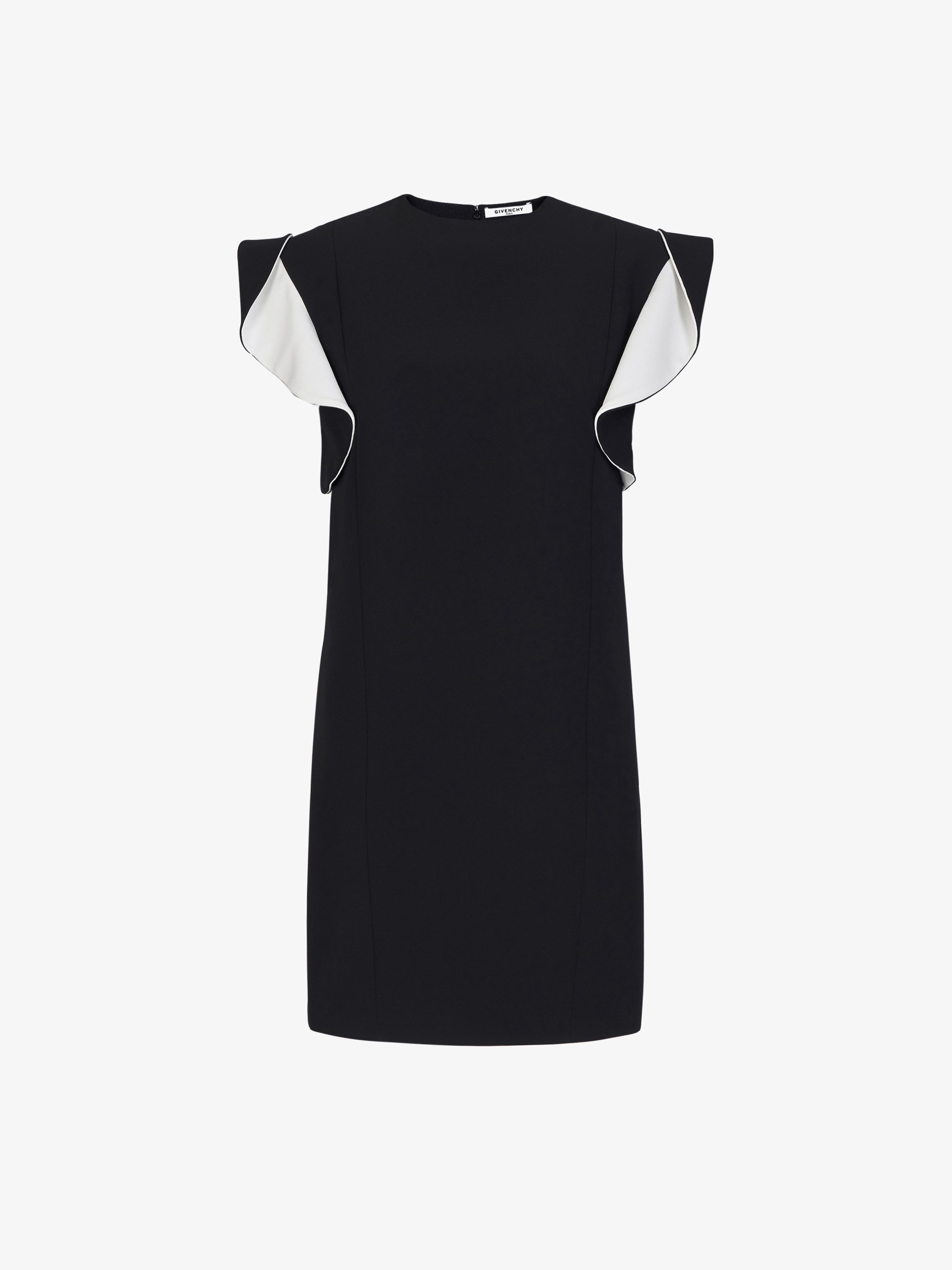 Short dress with contrasting ruffles