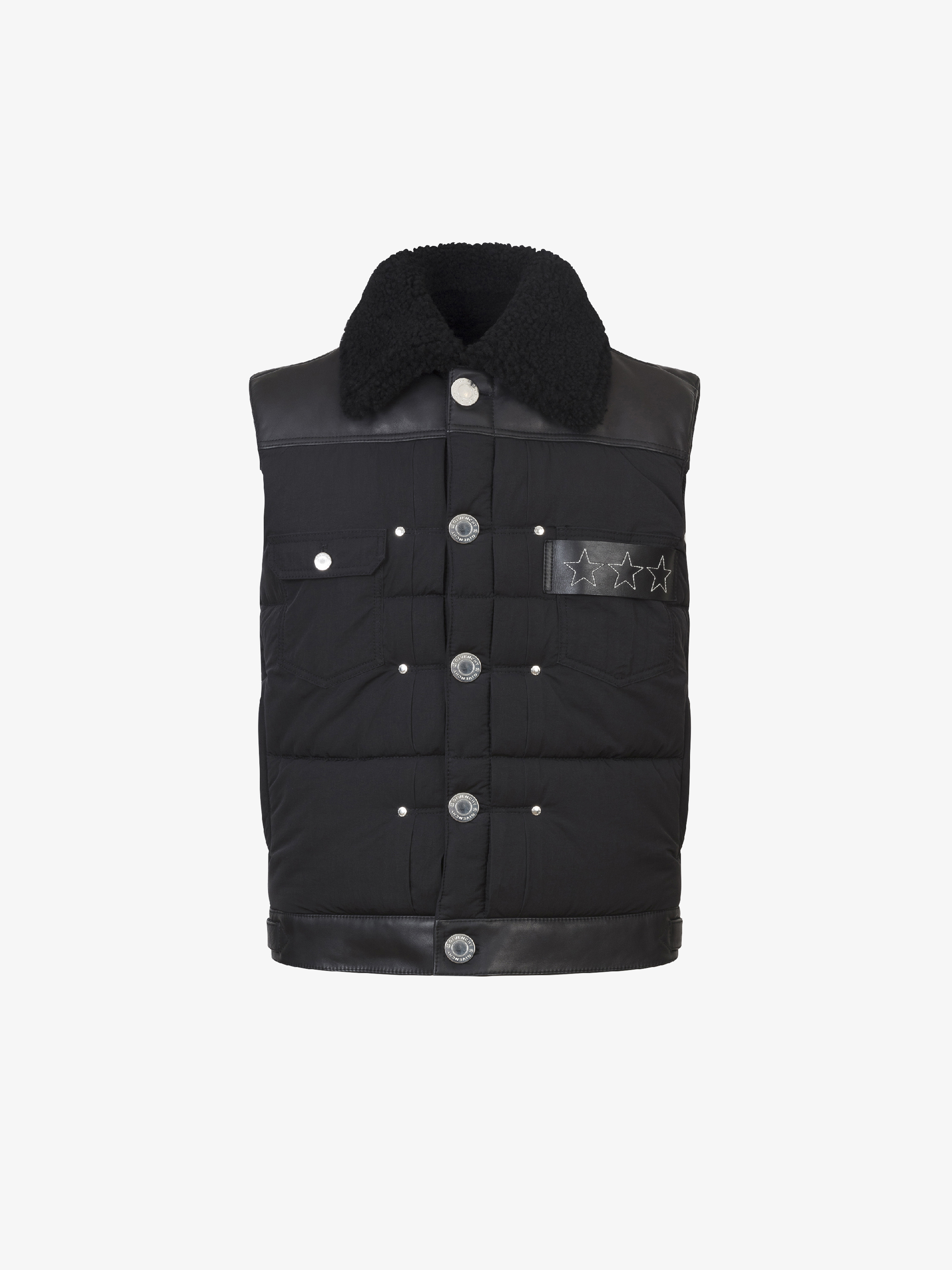 Sleeveless puffa jacket with leather details