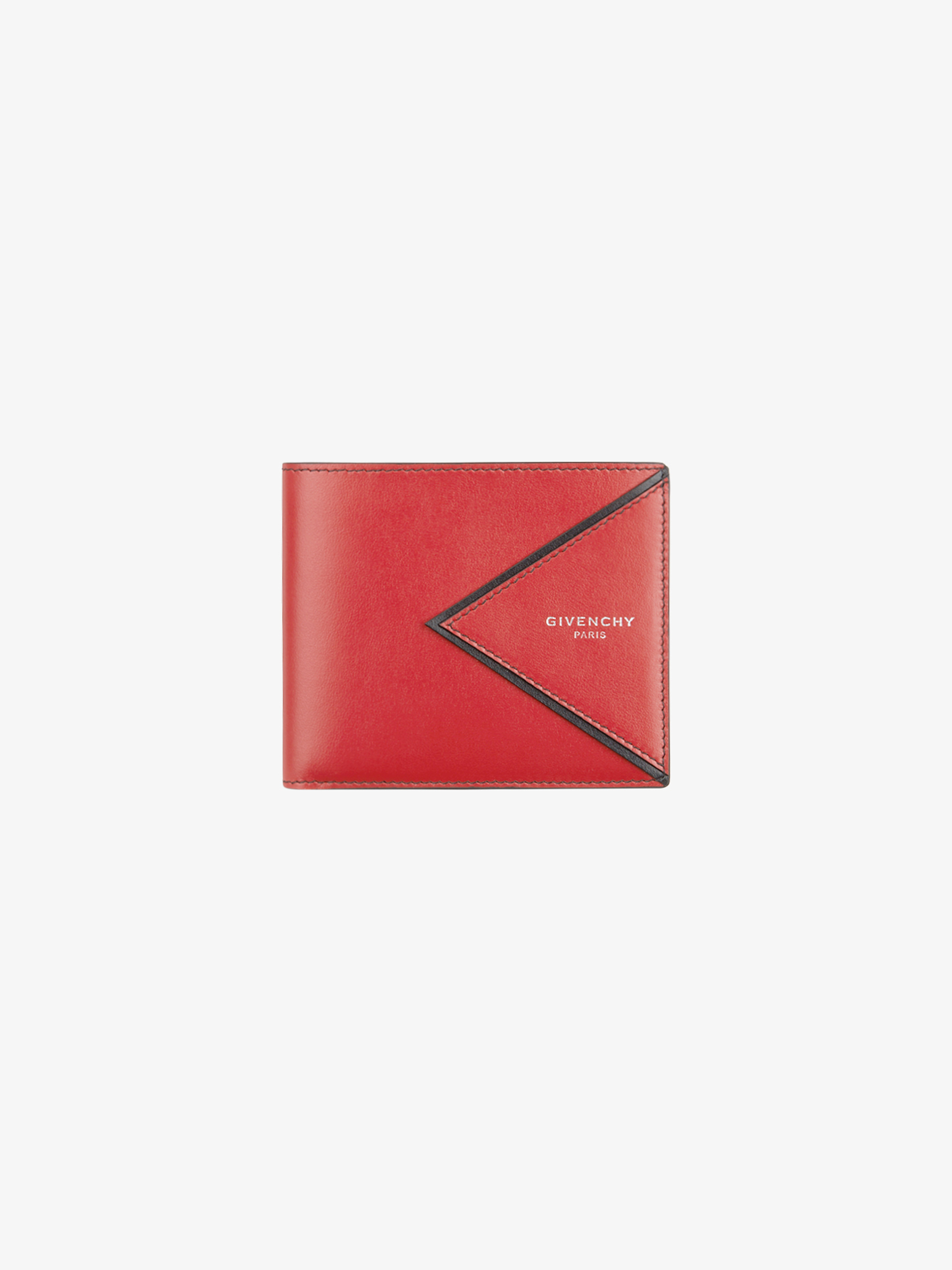 V shape cut wallet in leather