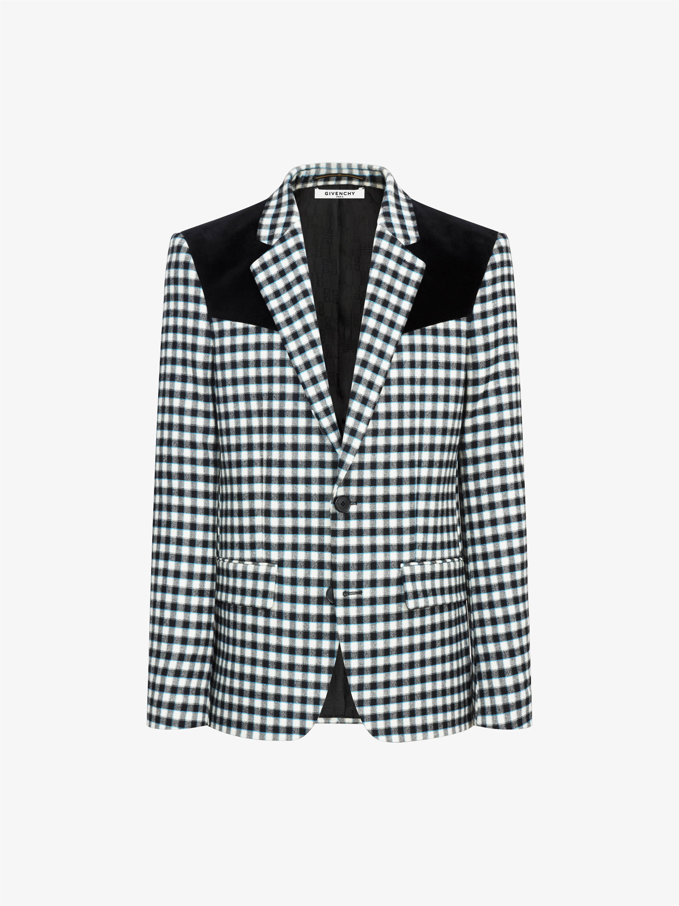 Contrasted yoke bicolor vichy jacket
