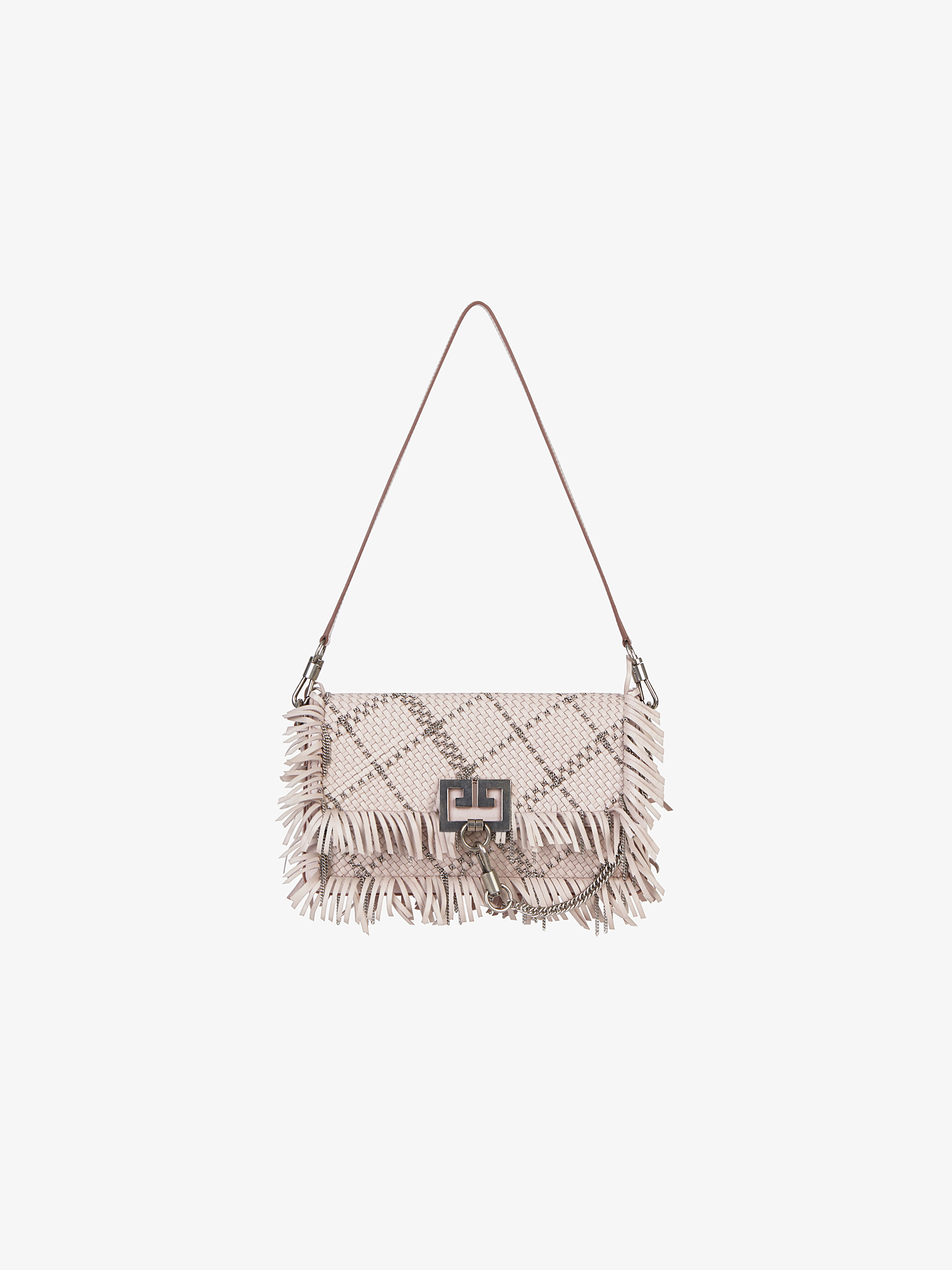 Fringed Charm bag in braided leather and chain