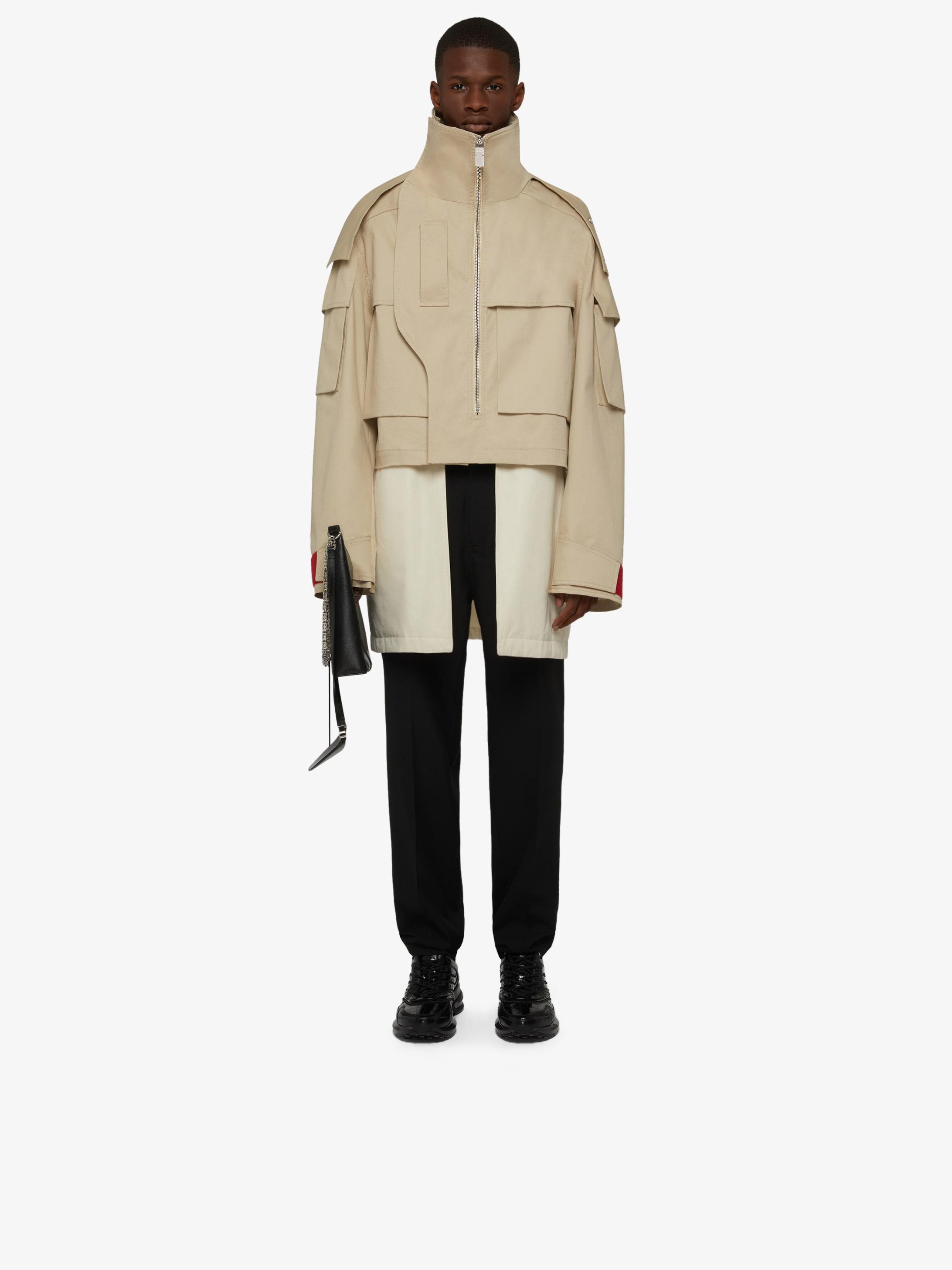 Oversized short parka with detachable waistcoat