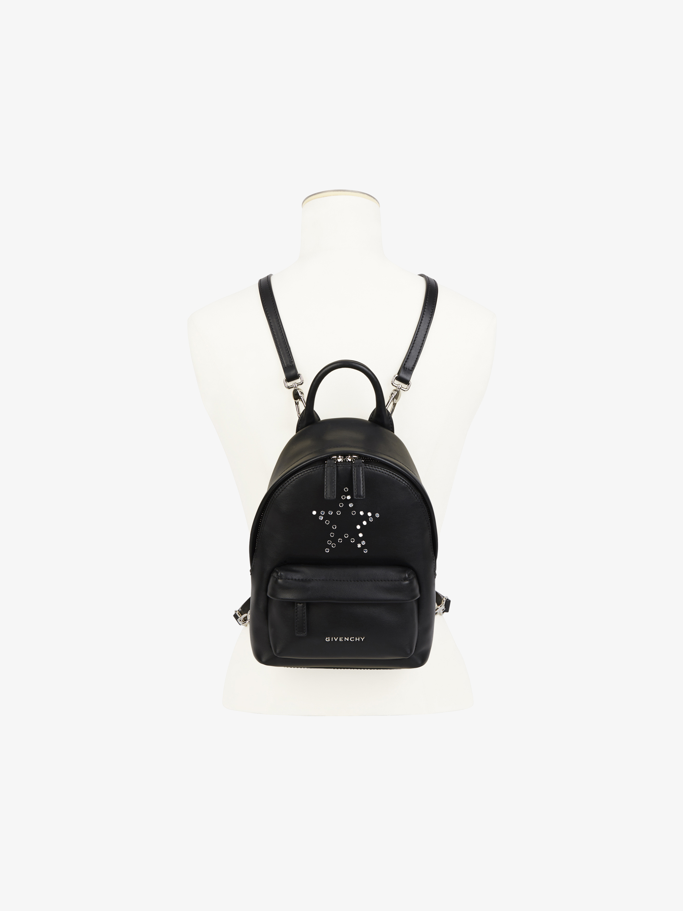 Mirror rivets nano leather backpack
