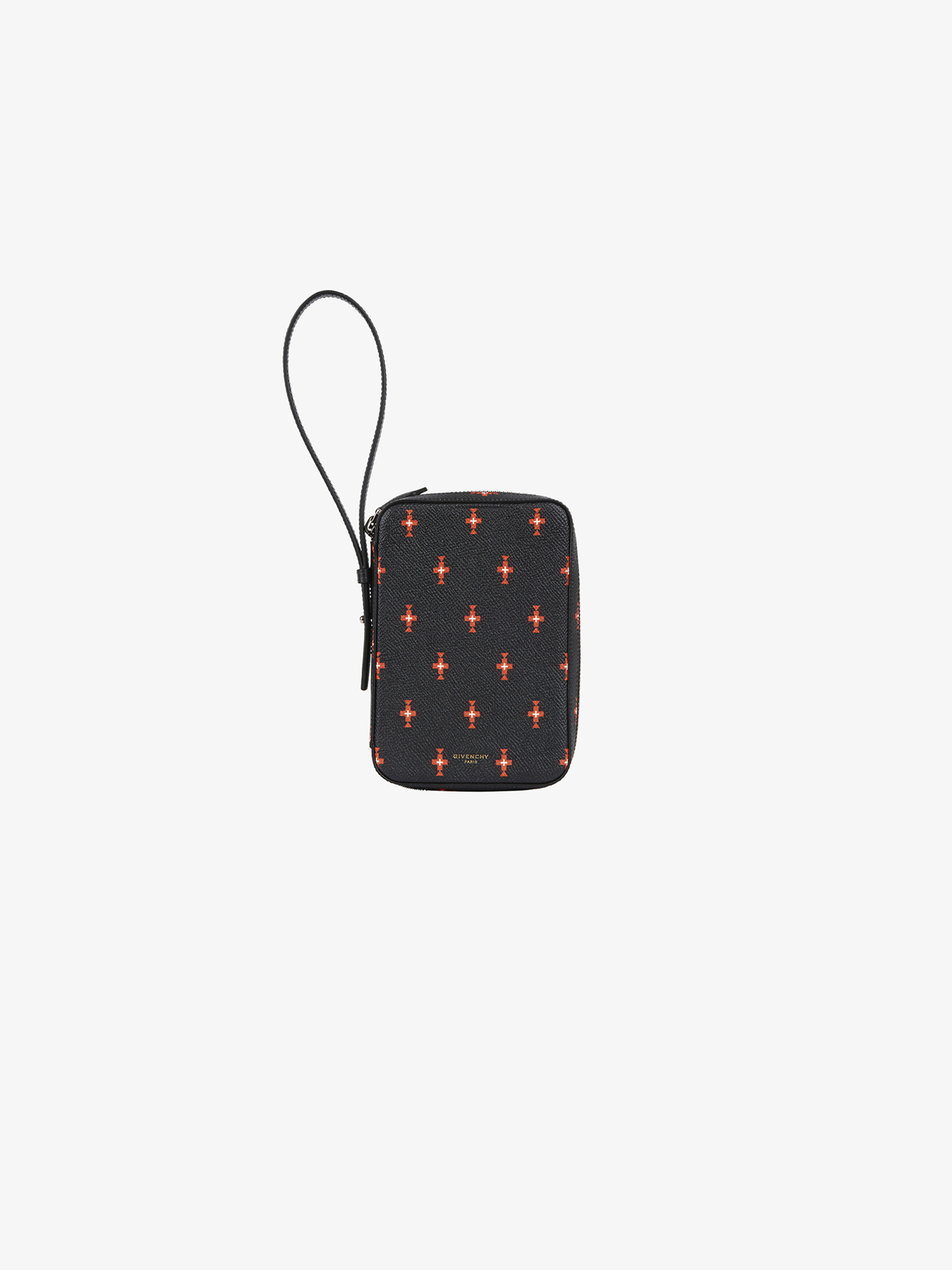 Totem printed box pouch in leather