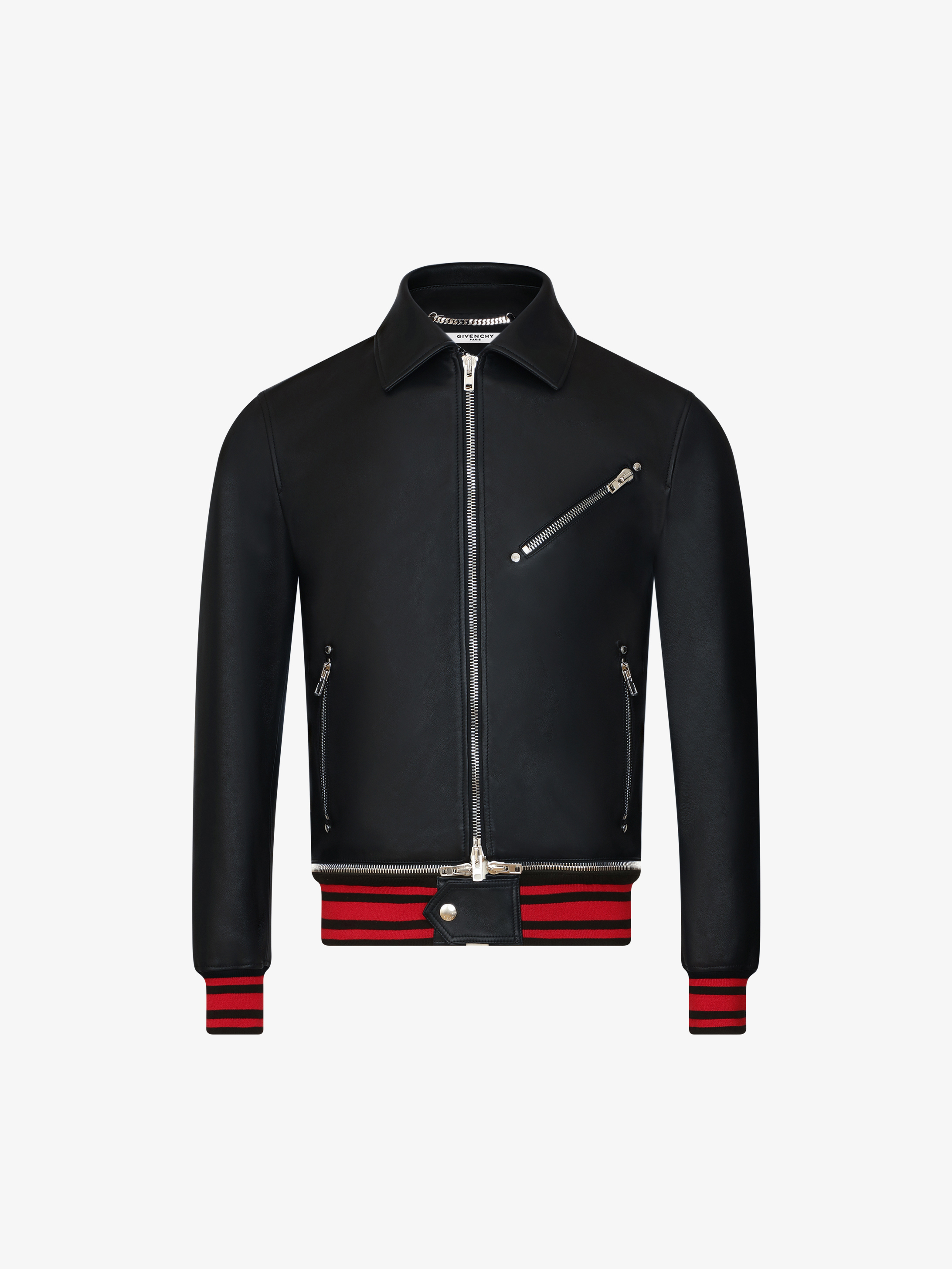 Zipped jacket in leather