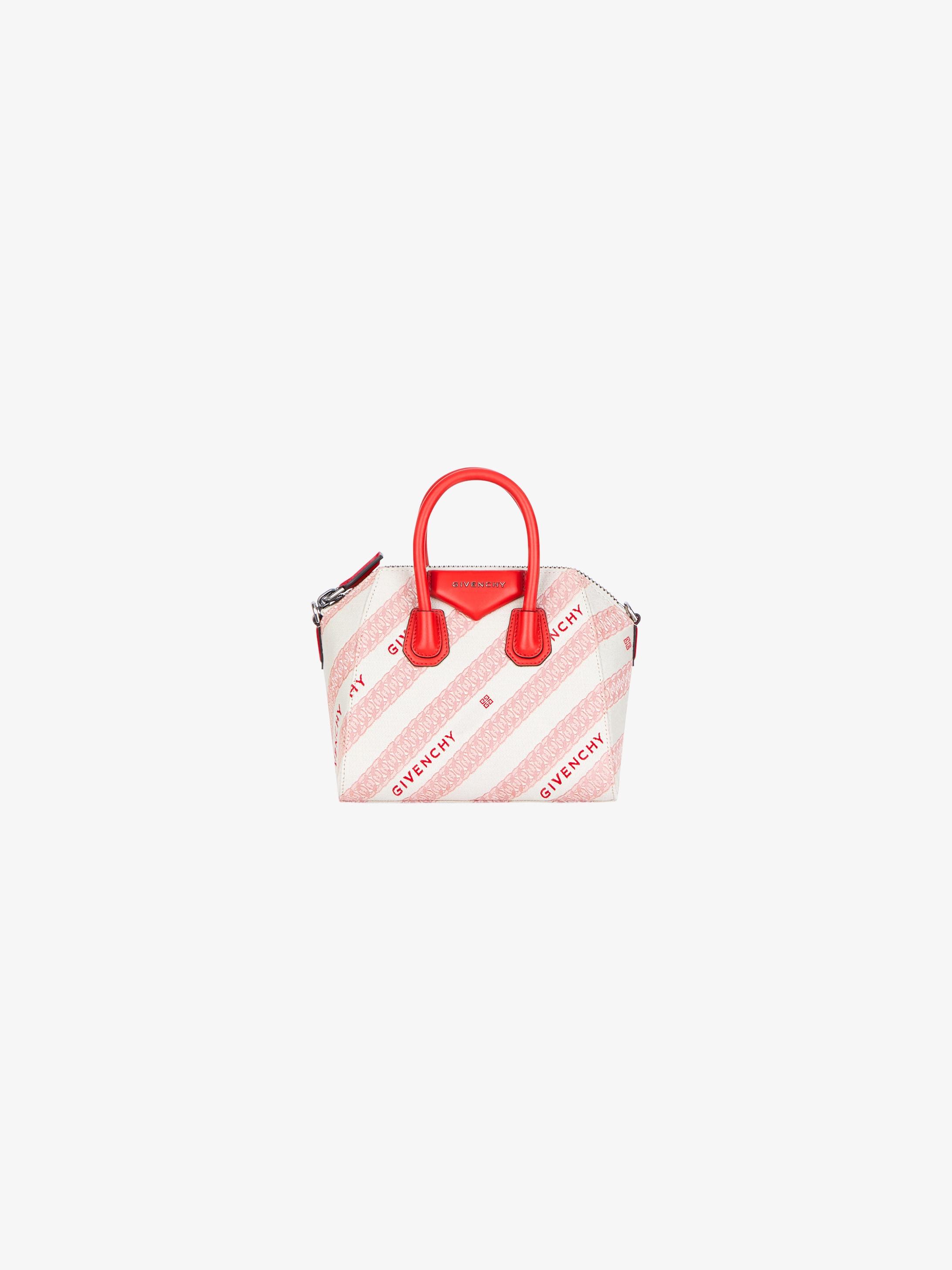 Mini Antigona bag in GIVENCHY jacquard chain and leather