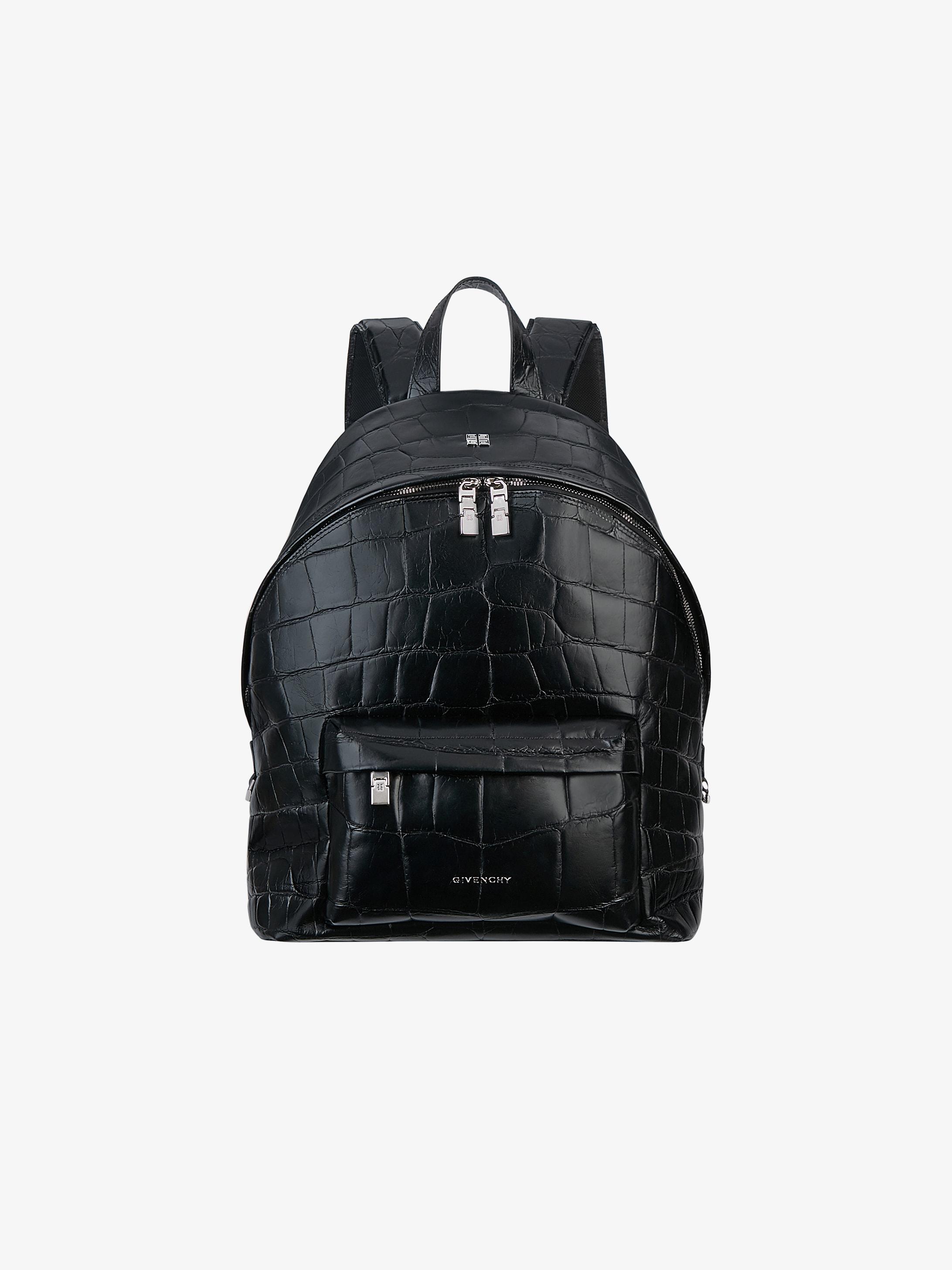 Double U backpack in crocodile effect leather