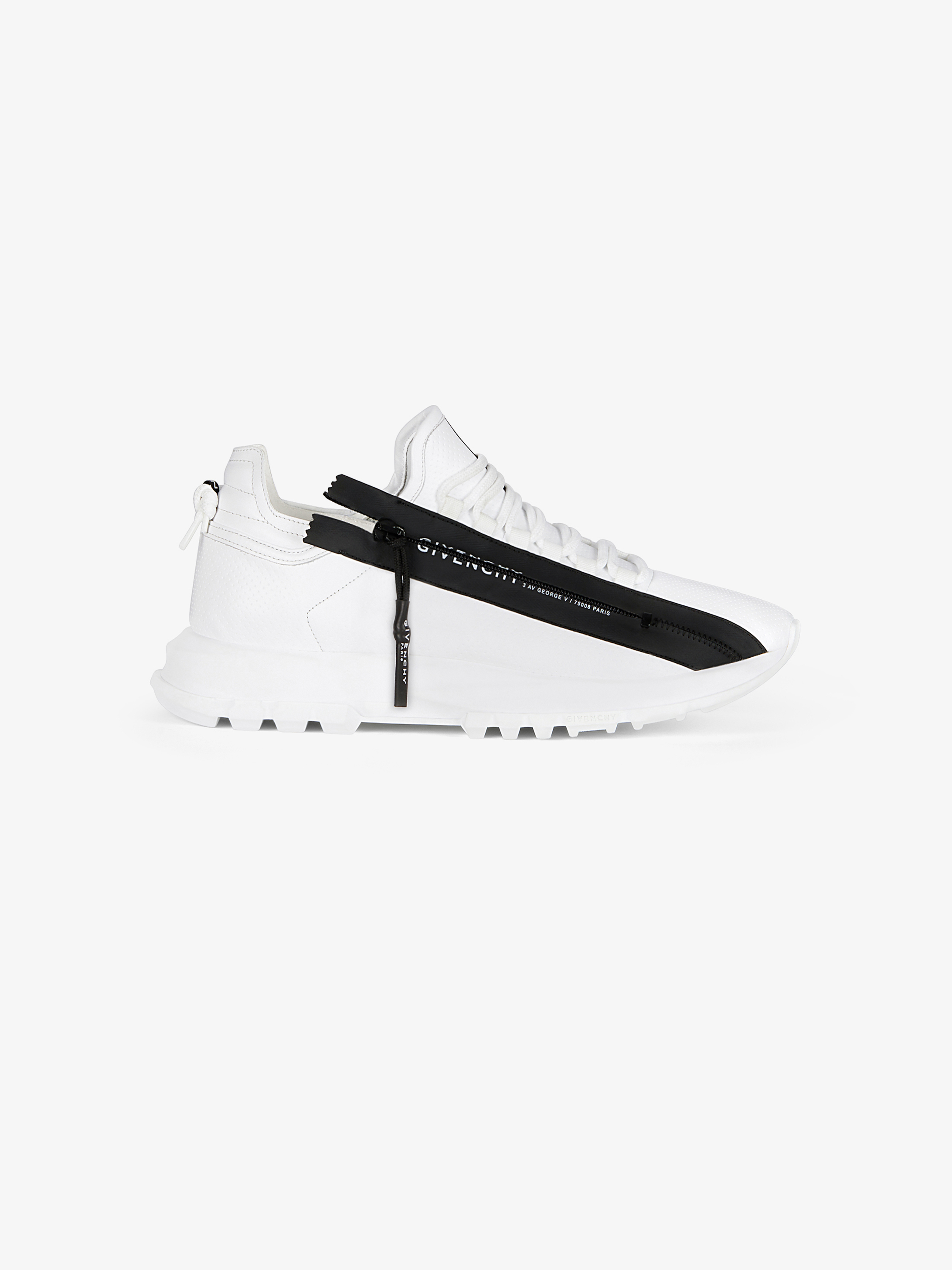 Spectre low runners sneakers in perforated leather with zip