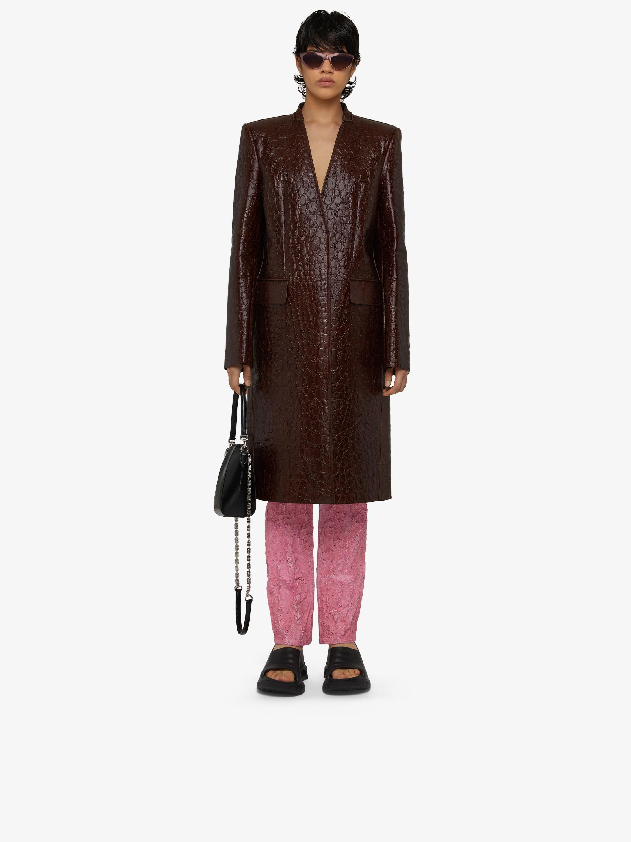 Masculine coat in crocodile effect vintage leather