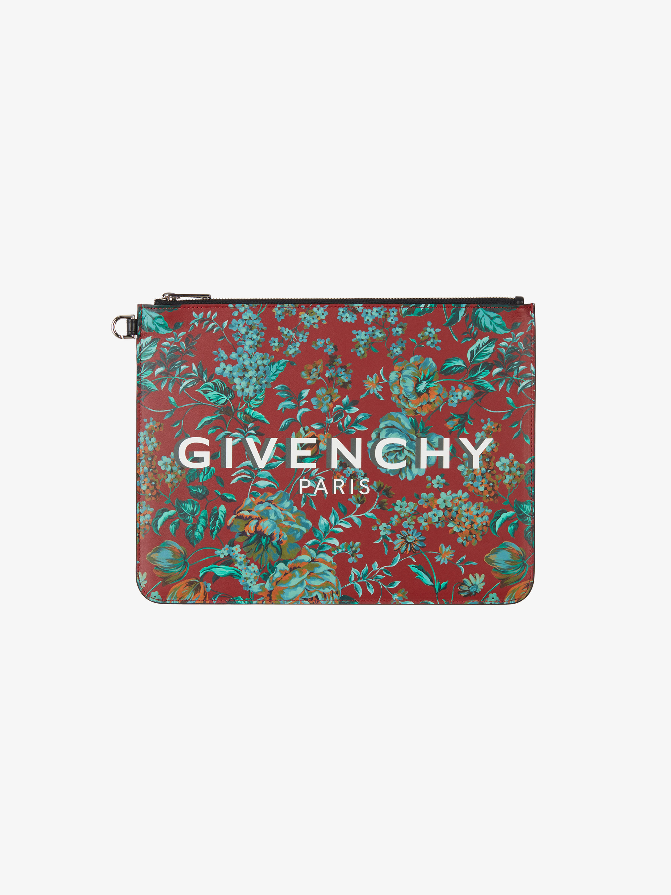 GIVENCHY PARIS large pouch in floral printed leather