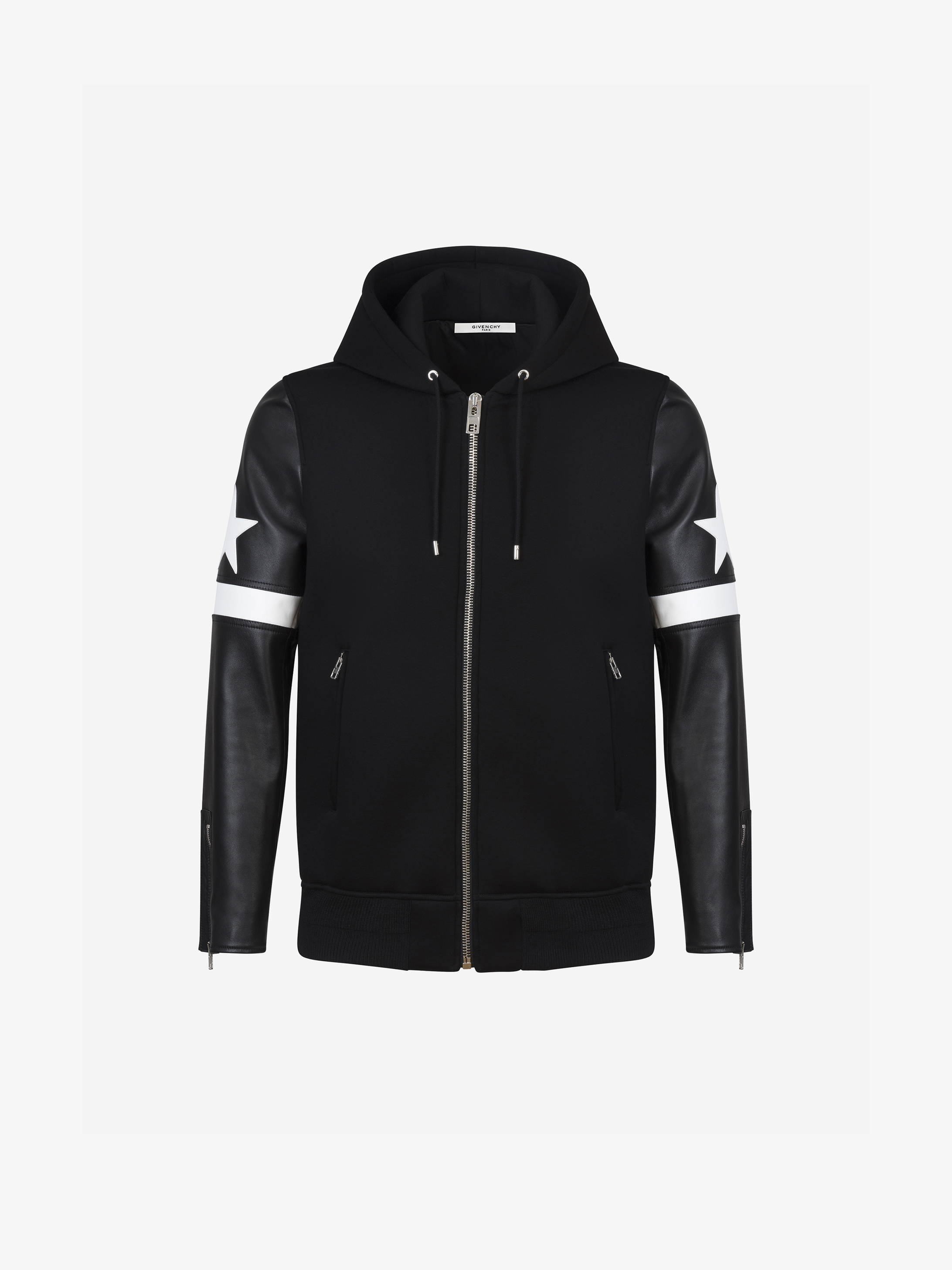 Hoodie in leather and neoprene