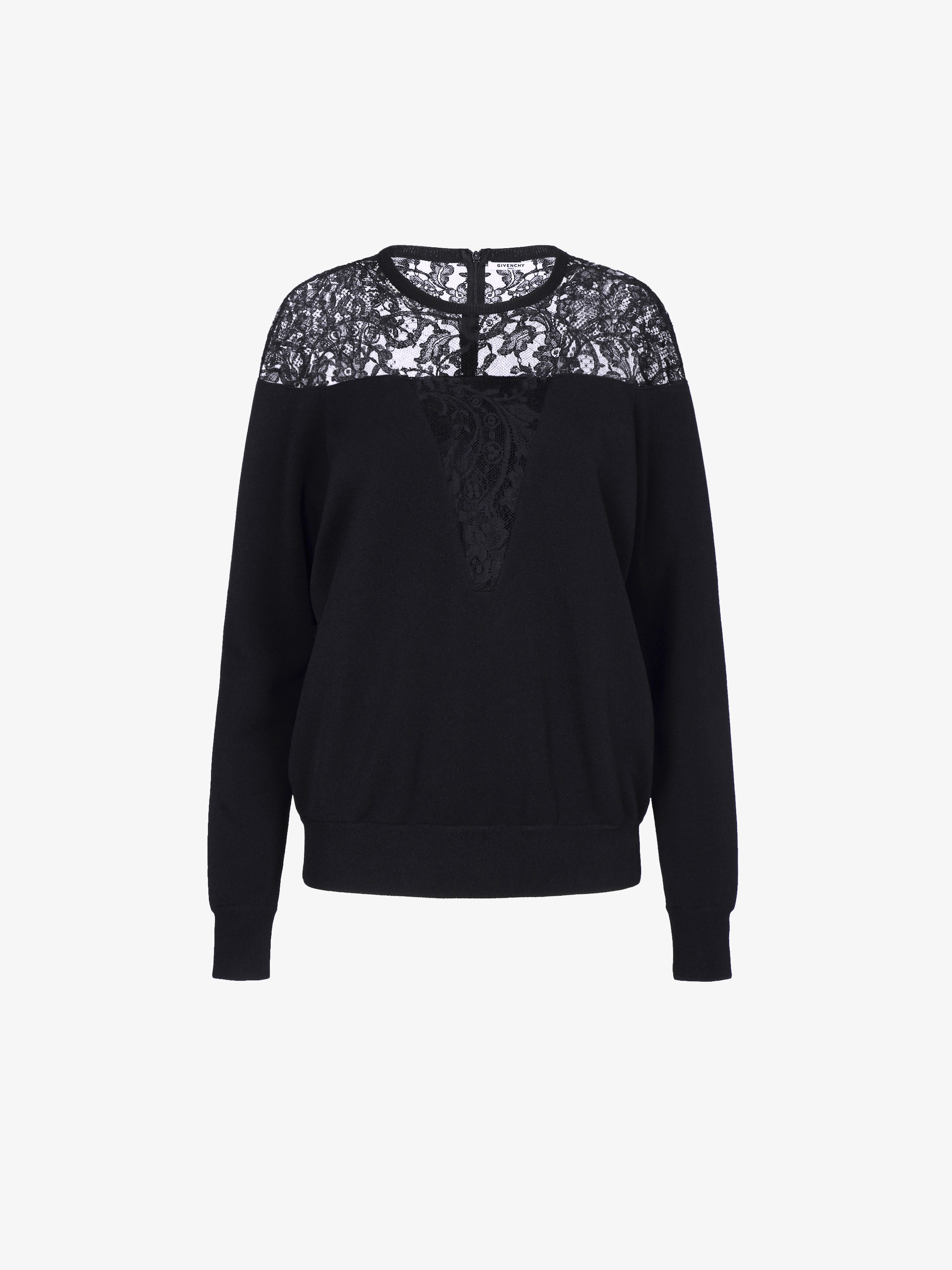 Sweater in viscose and lace