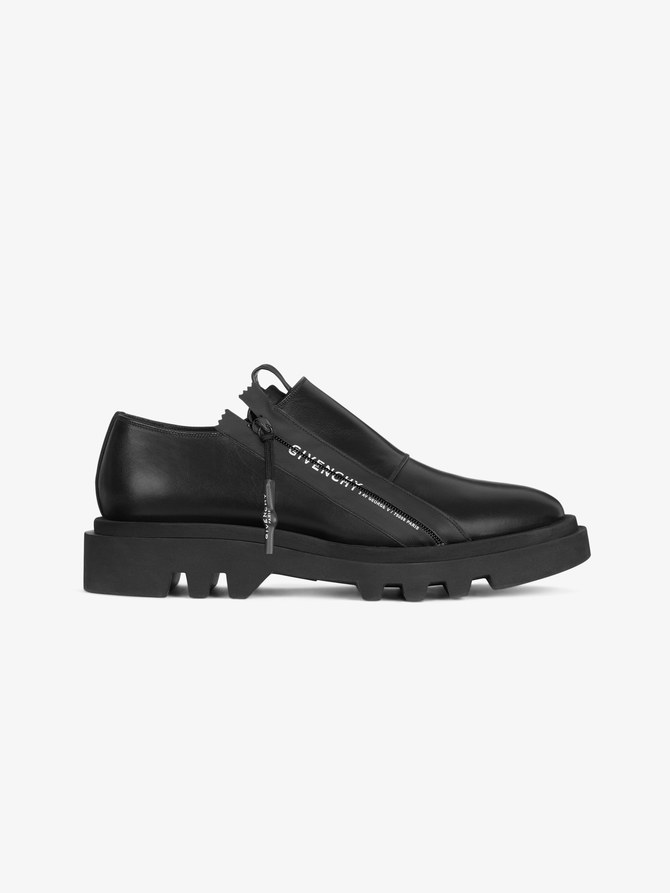 Combat zipped derby in leather