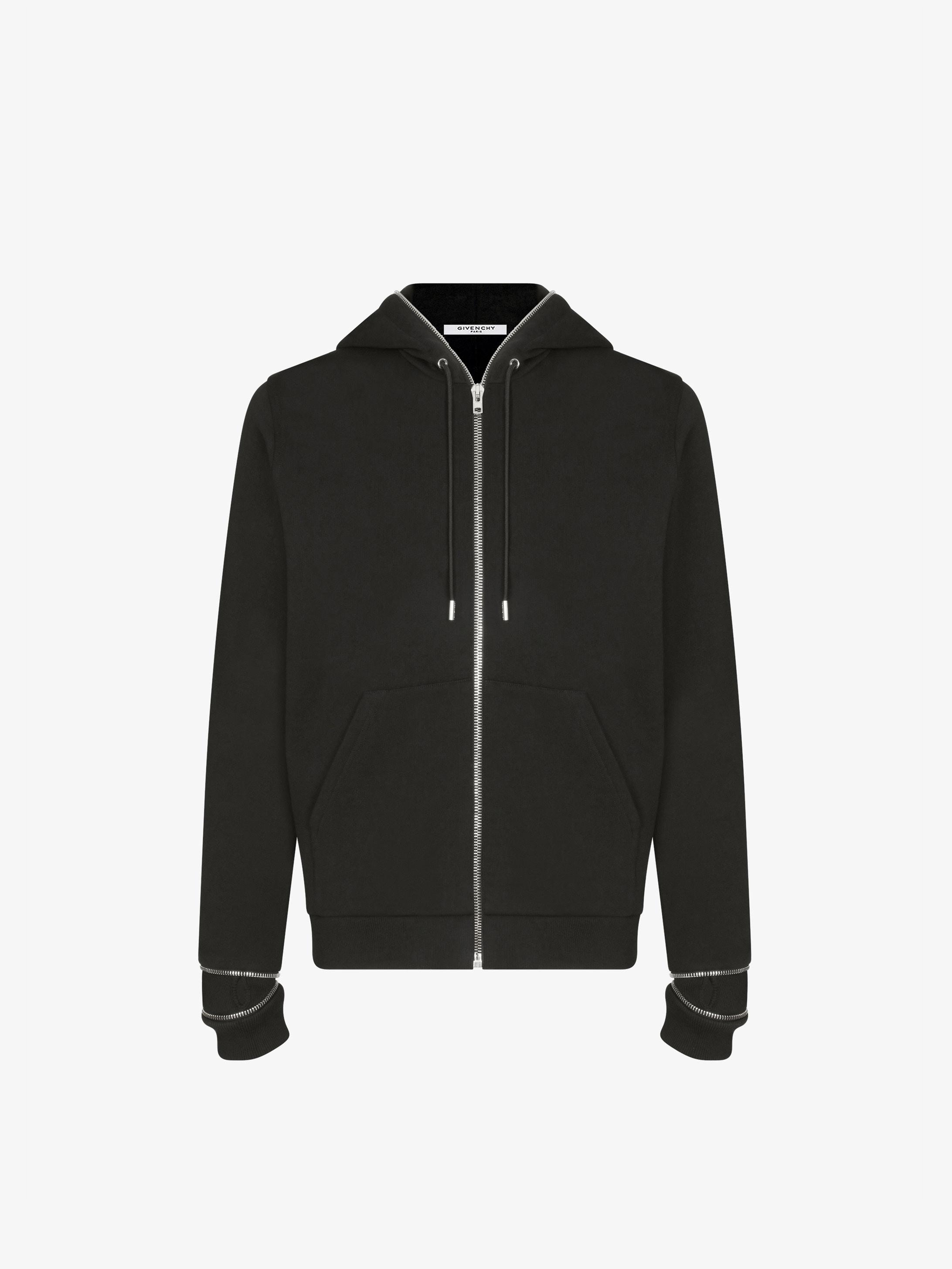 Metallic zips hoodie