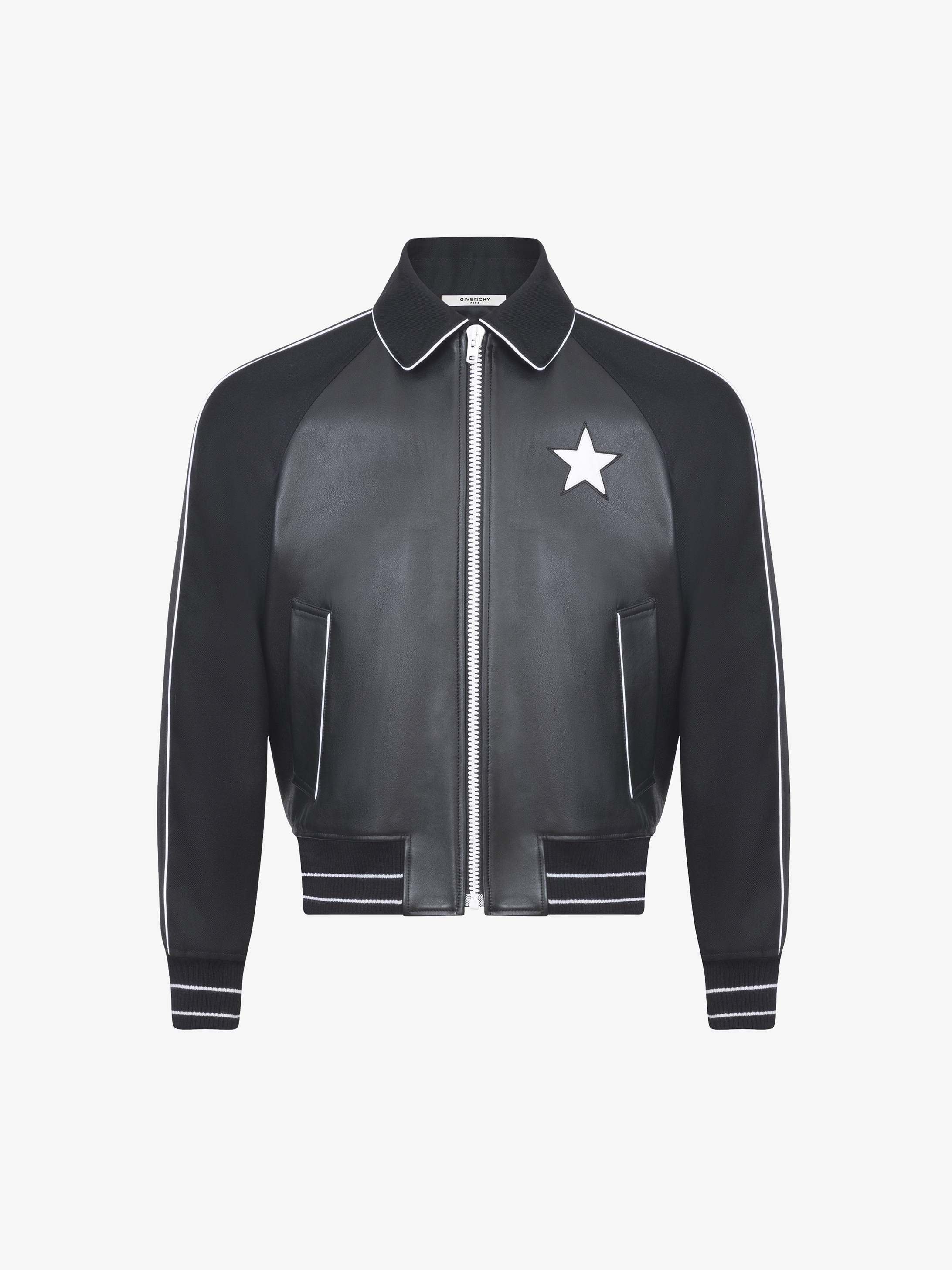 Star on chest contrasting bomber jacket in leather