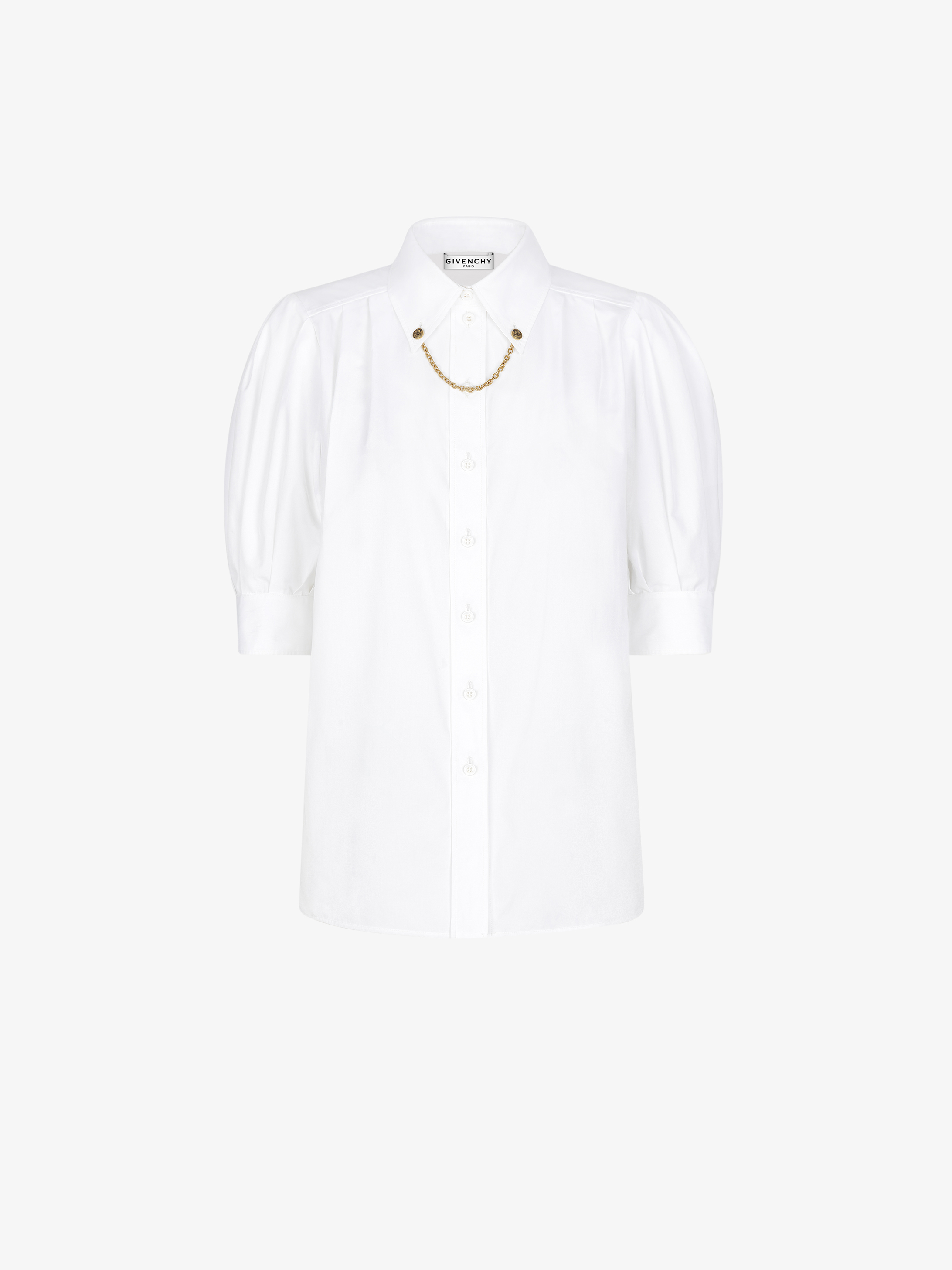 Shirt in cotton with chain collar