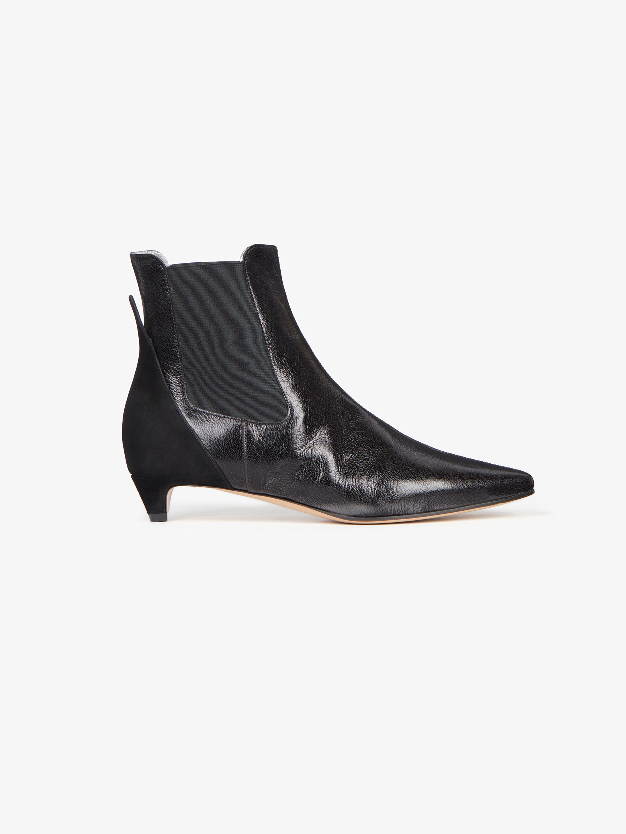 Mid-heel Chelsea boots in leather and suede