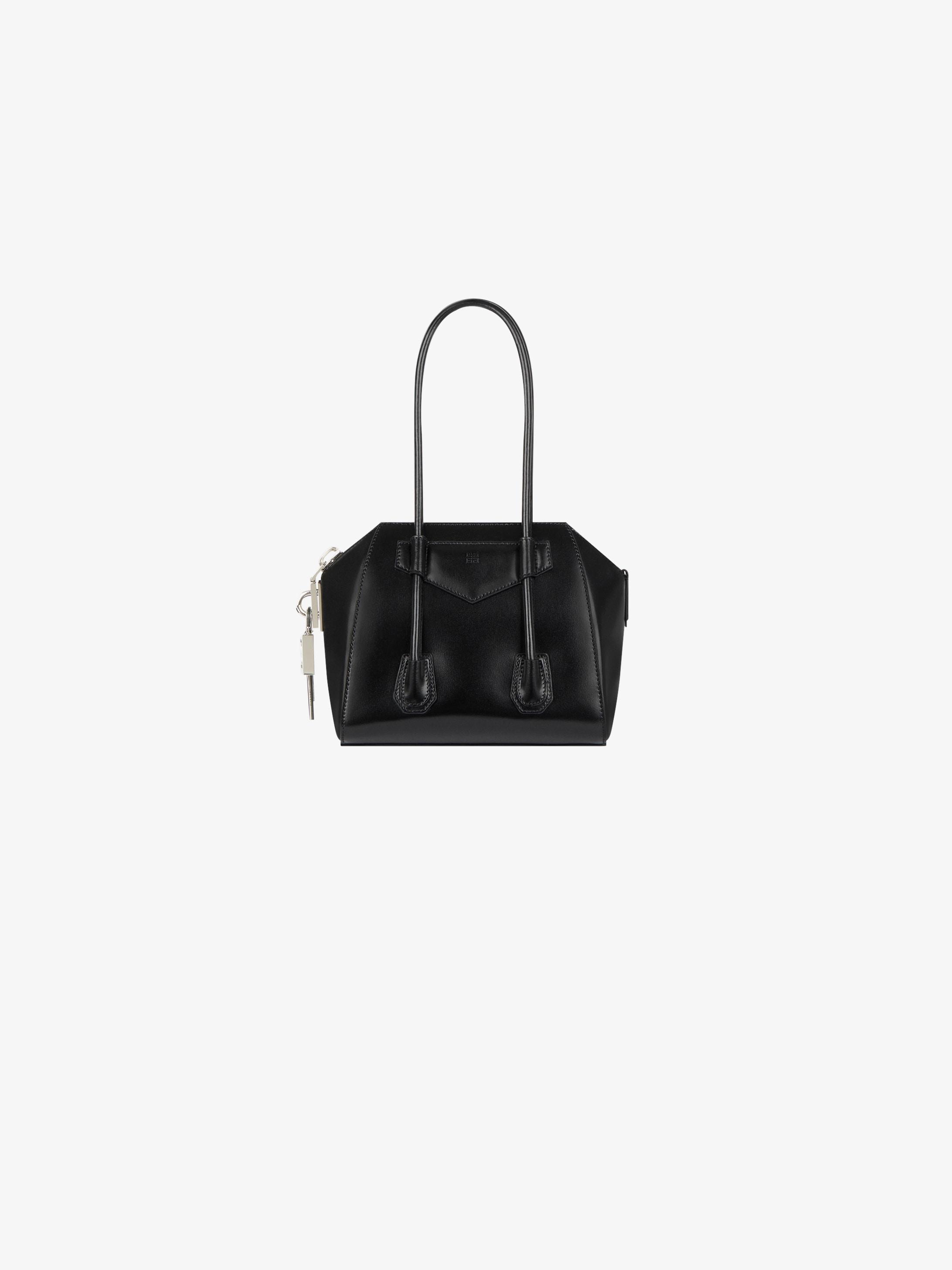 Mini Antigona lock bag in box leather