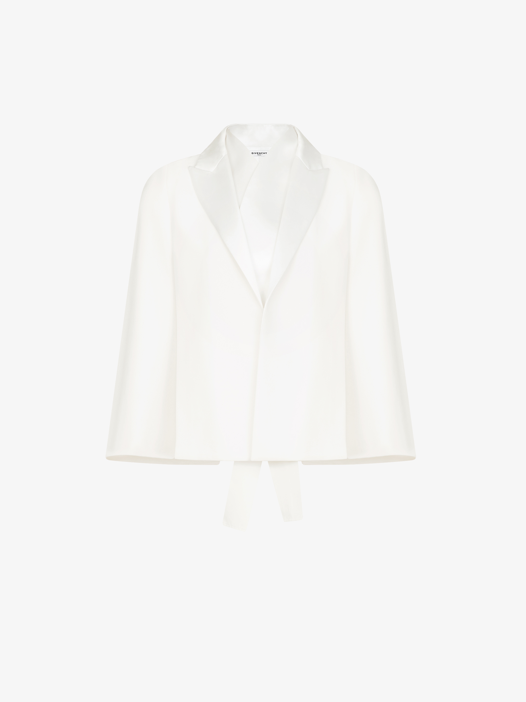 Cape-jacket in grain de poudre with tuxedo collar