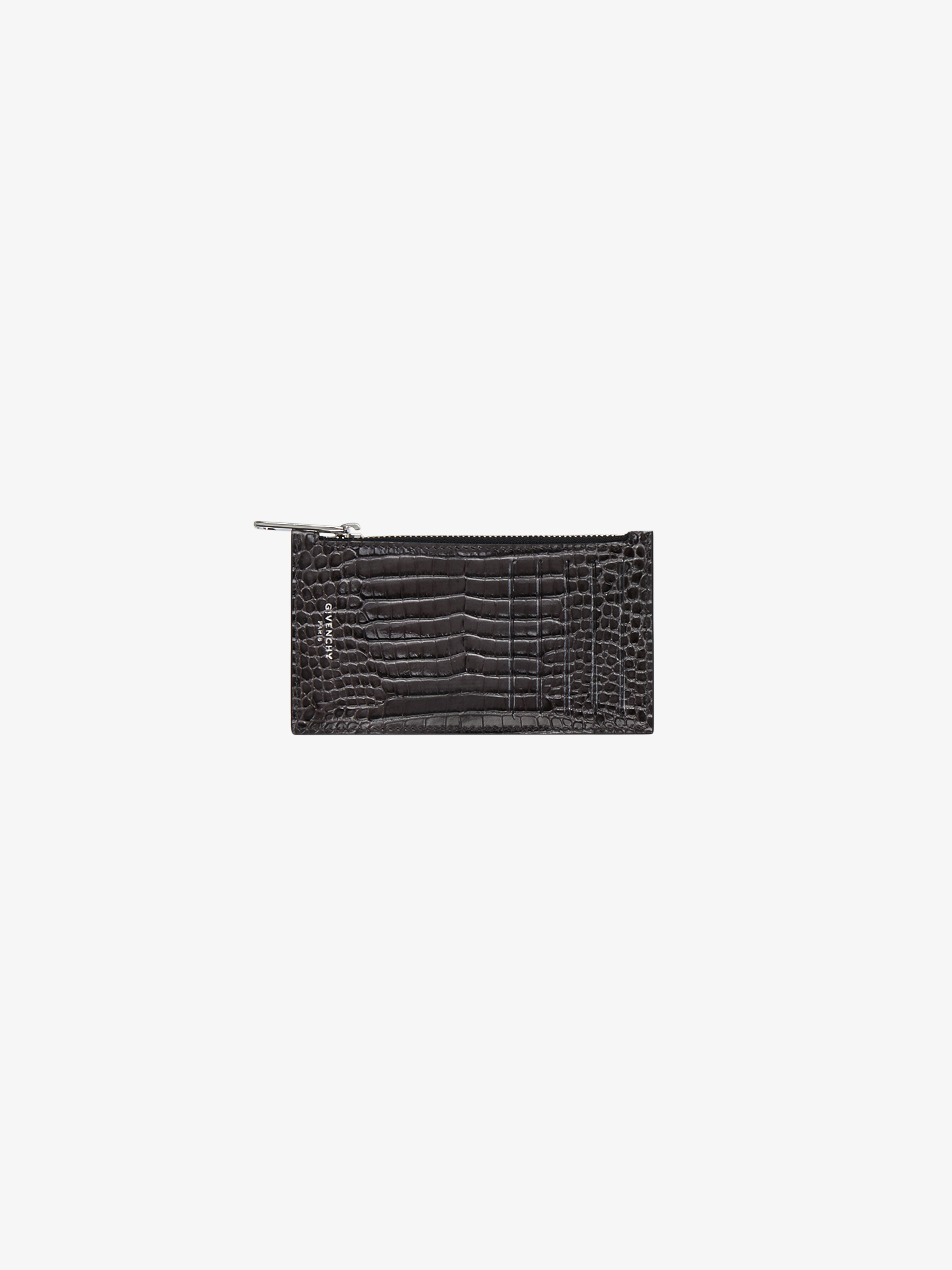 Card holder in crocodile effect leather