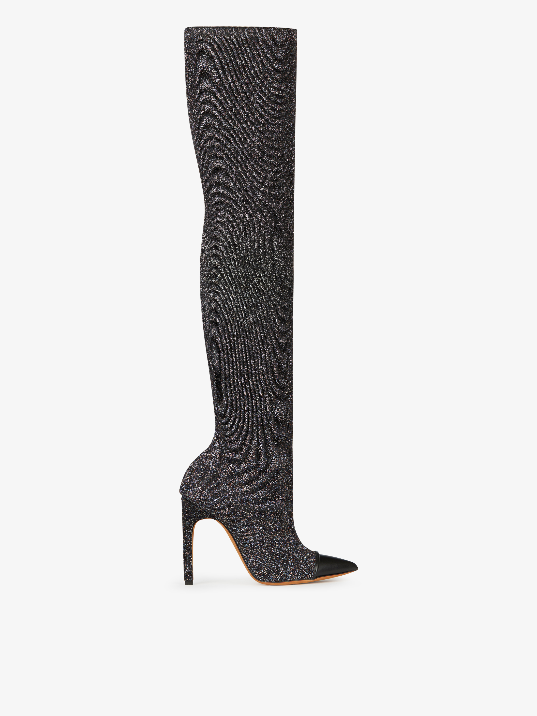 Contrasted over the knee boots