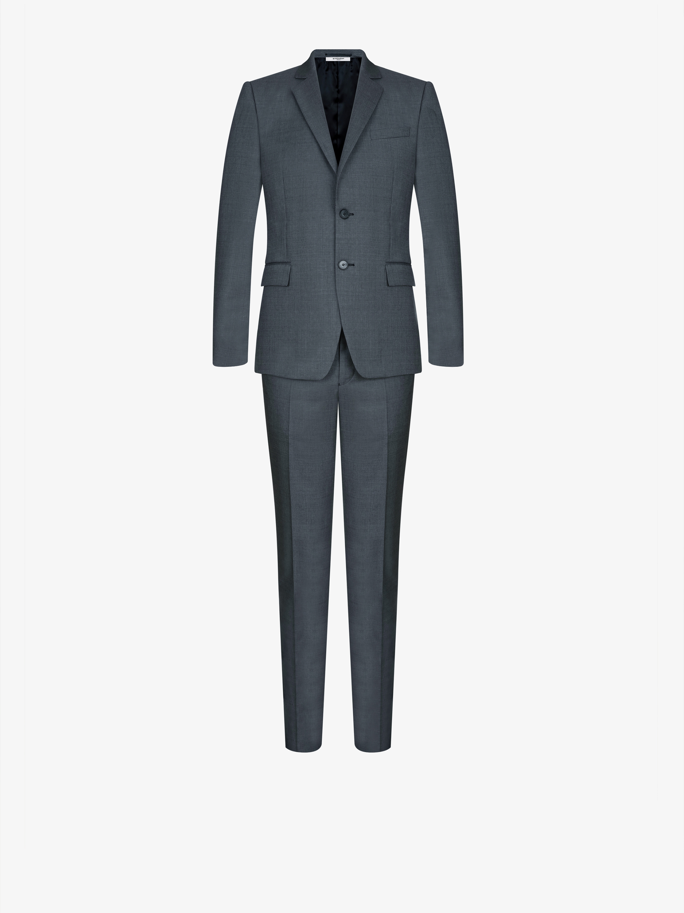 Regular fit microstructured wool suit