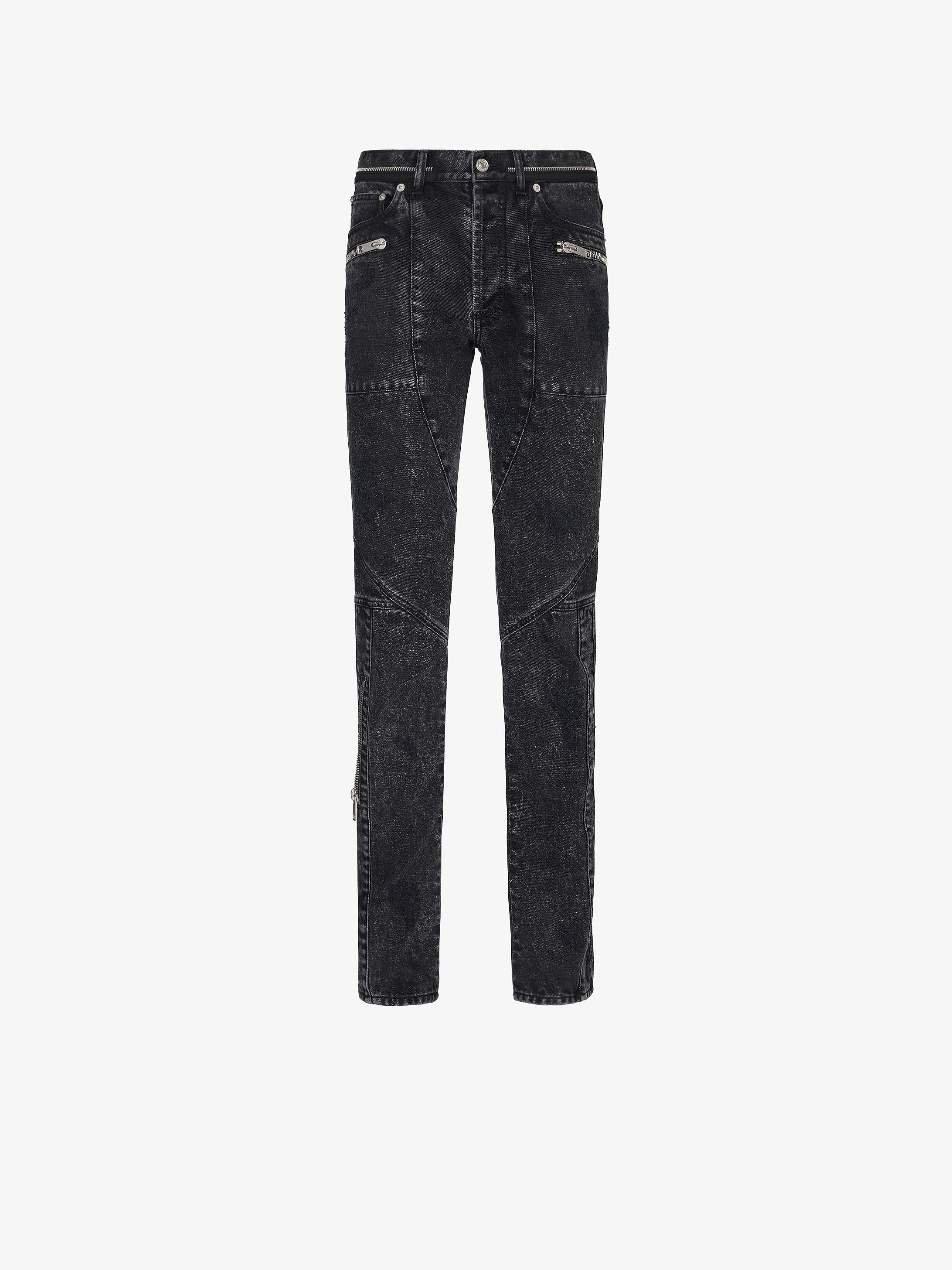 Zipped destroyed biker denim trousers