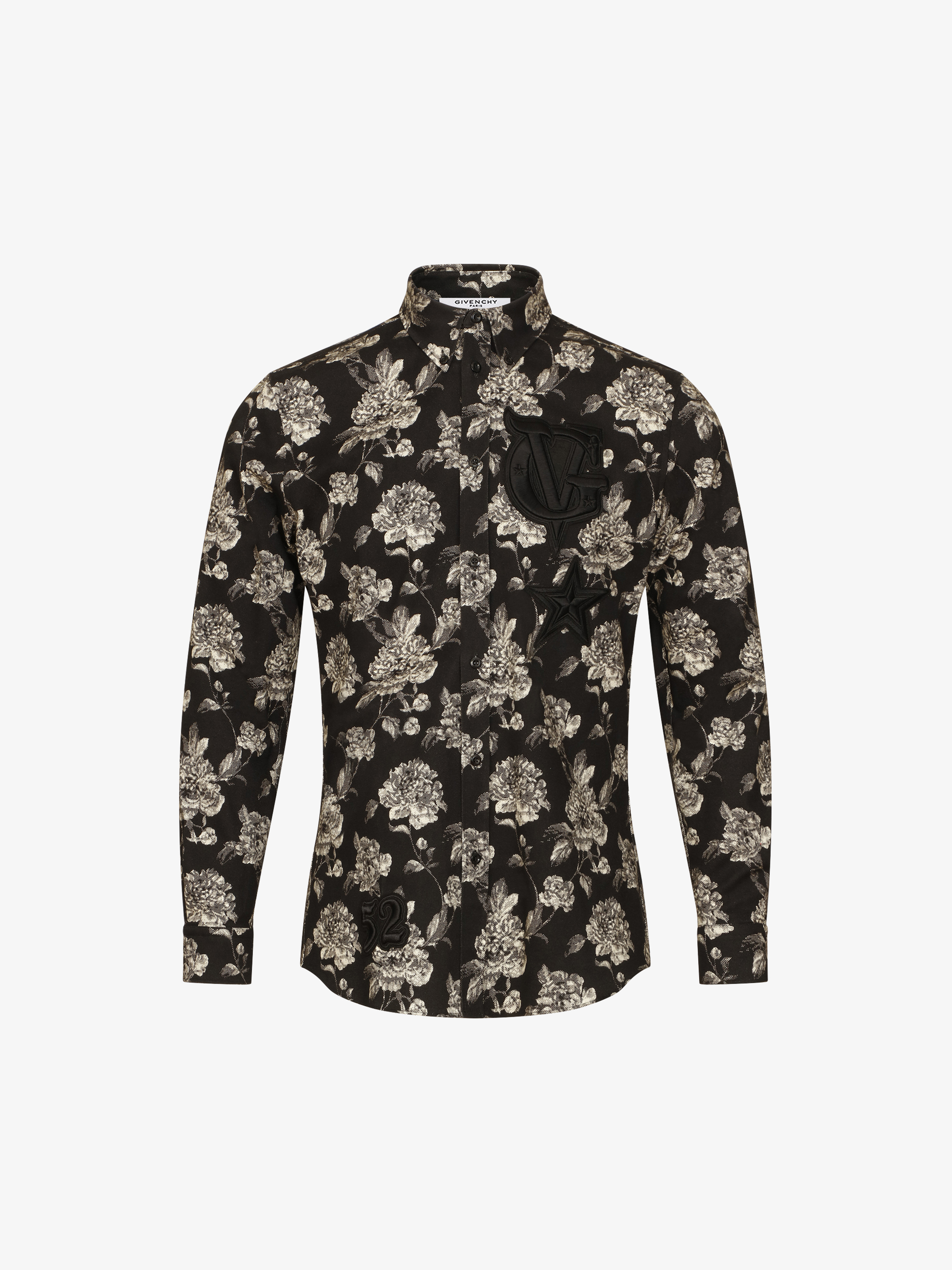 Flowers printed shirt with patches