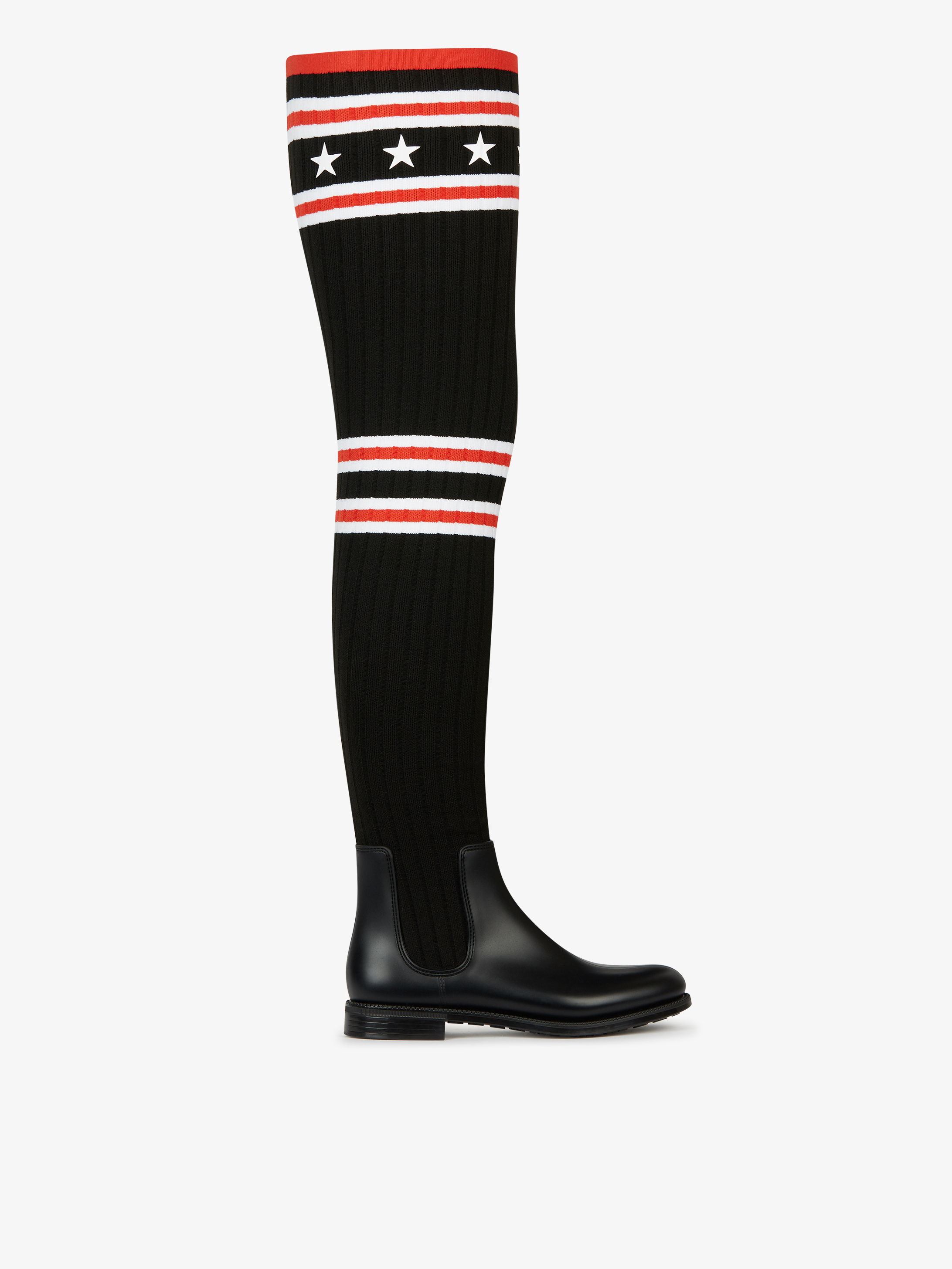 Over the knee knitted rainboots in rubber