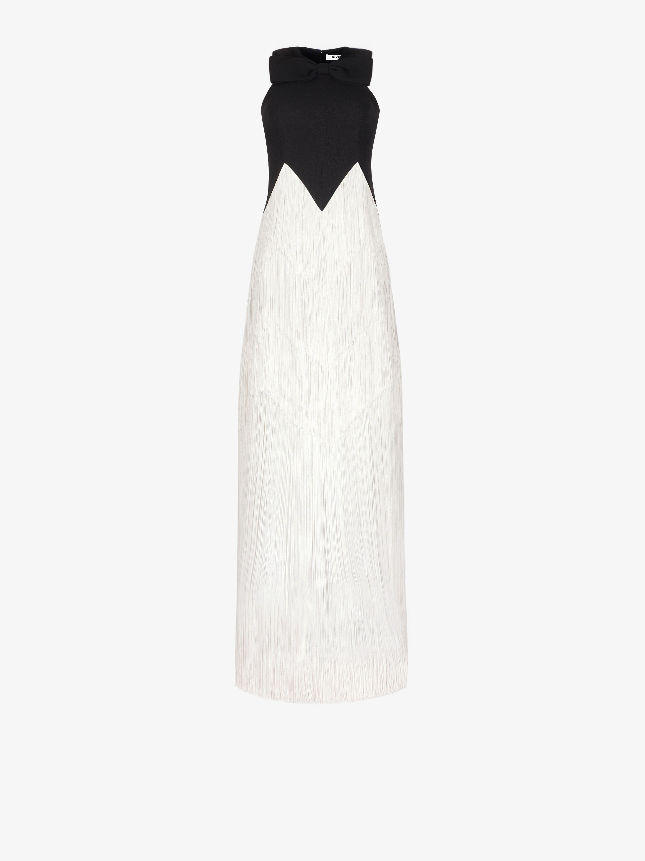 Evening dress with fringes