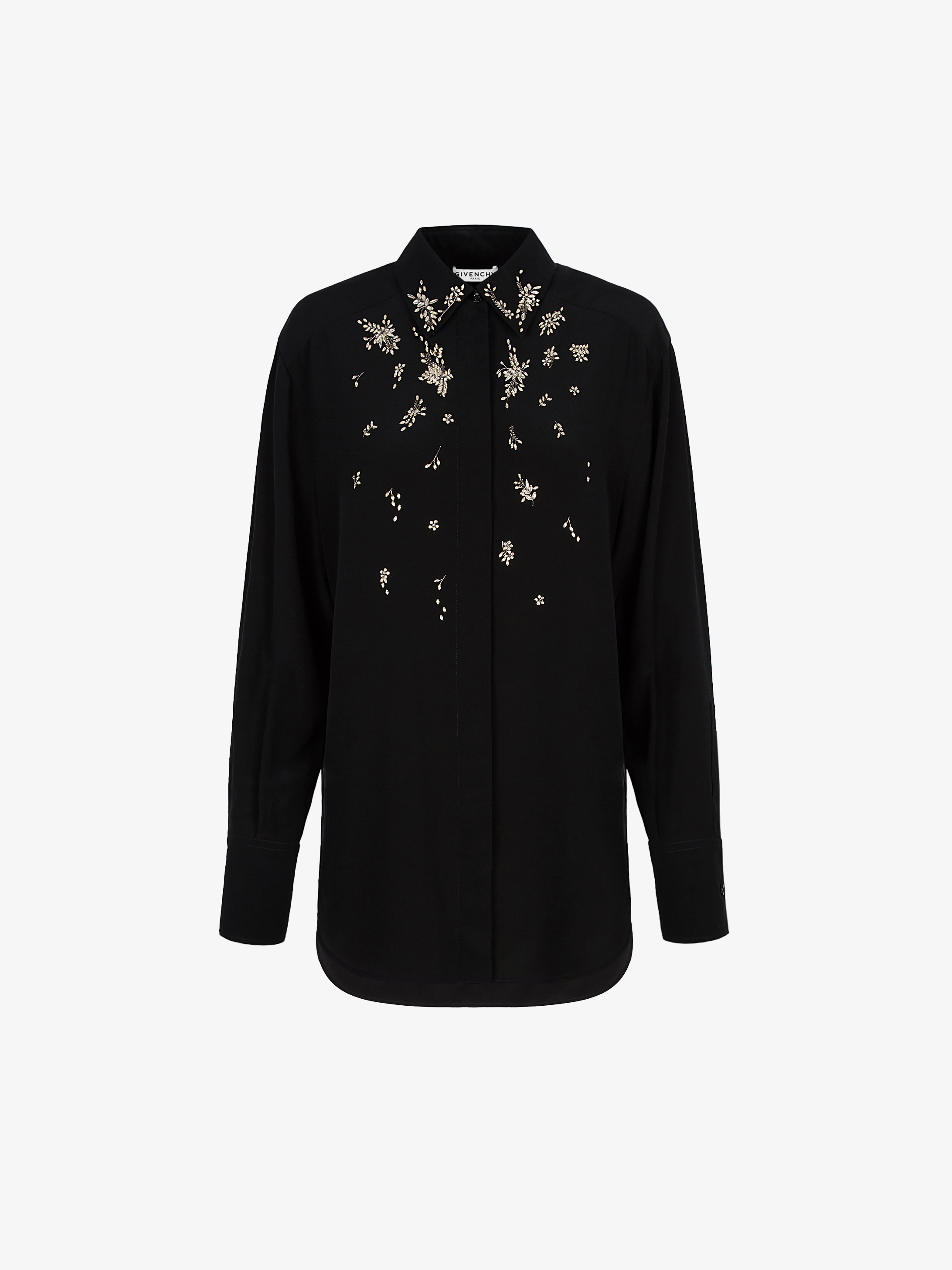 Crystals embroidered shirt in silk