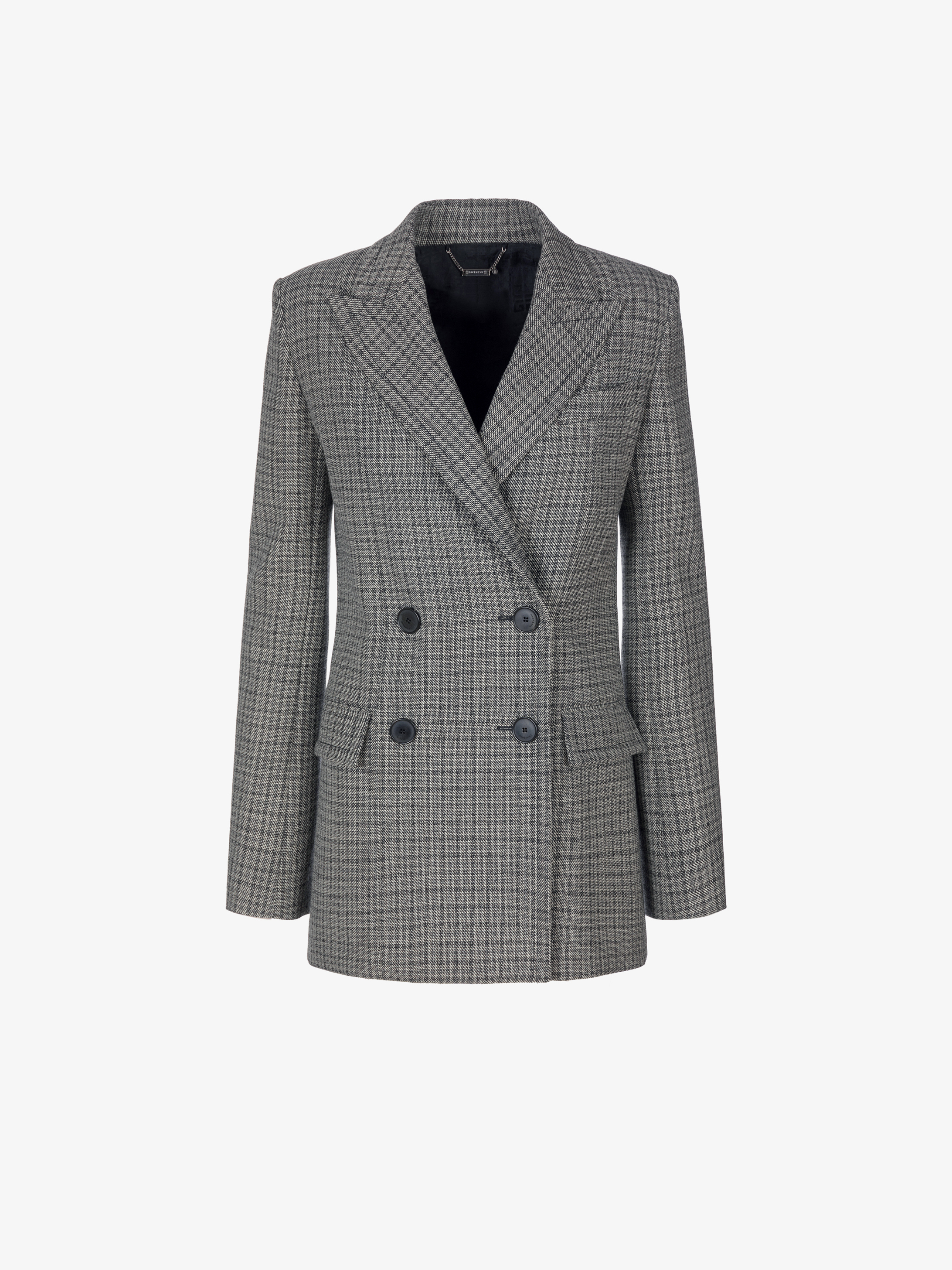 Double breasted jacket in prince of wales wool