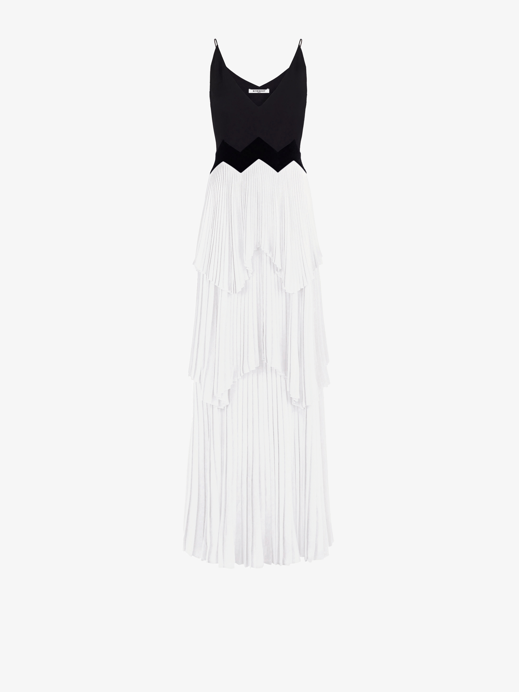 Deep V neck dress with pleated layer skirt