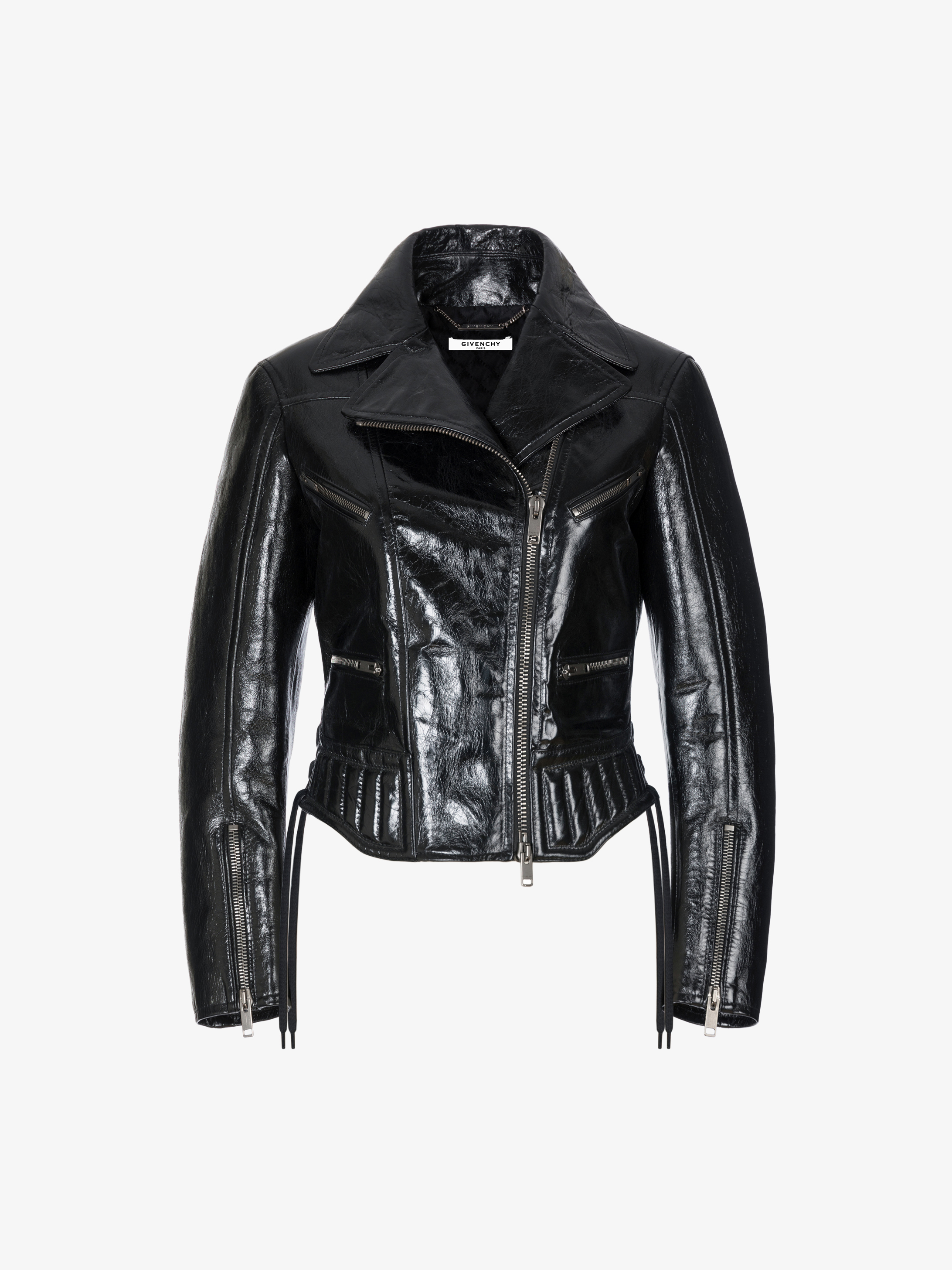 Fitted biker jacket in shiny crackling leather