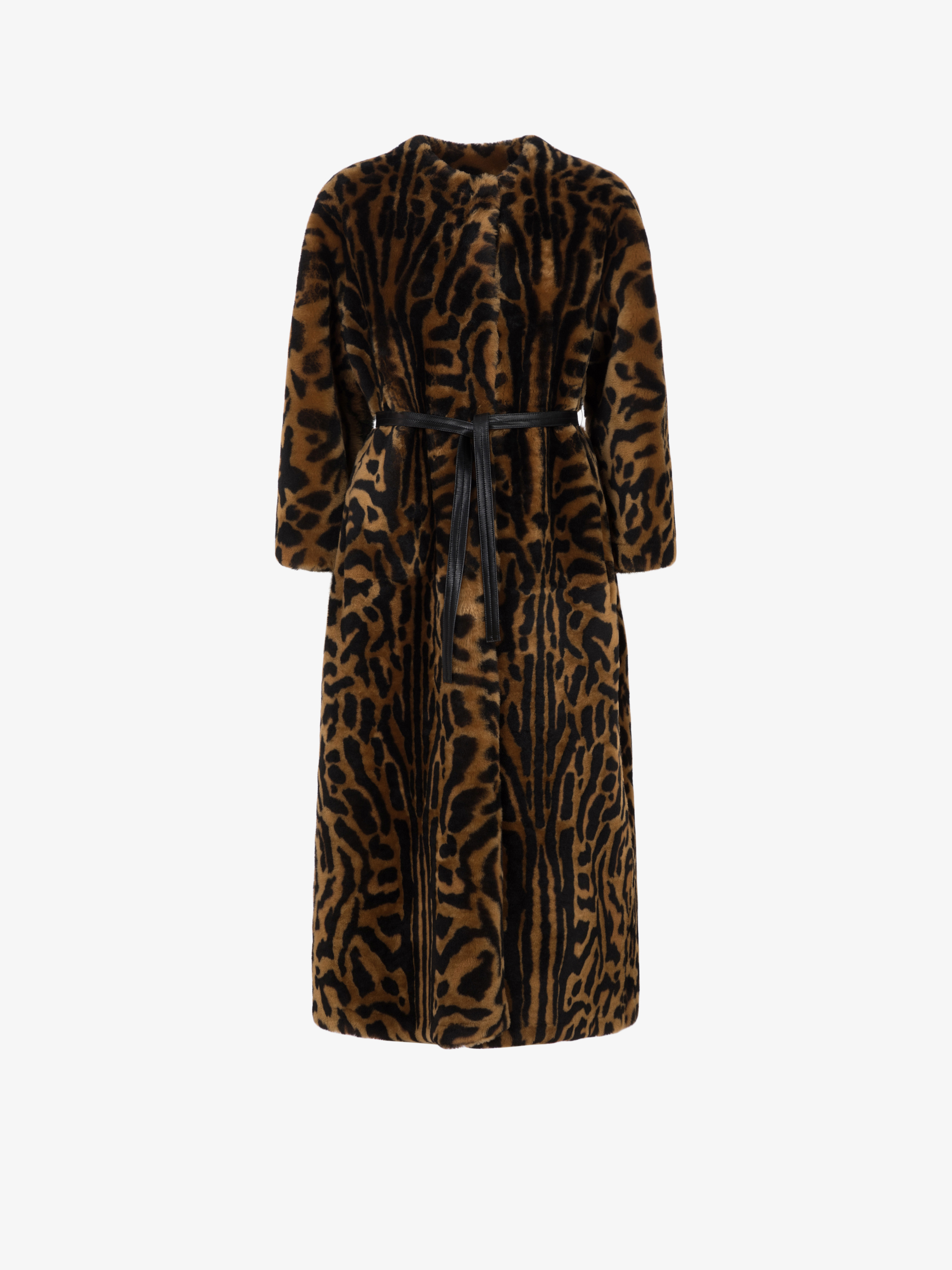 Long shearling coat with chettah print