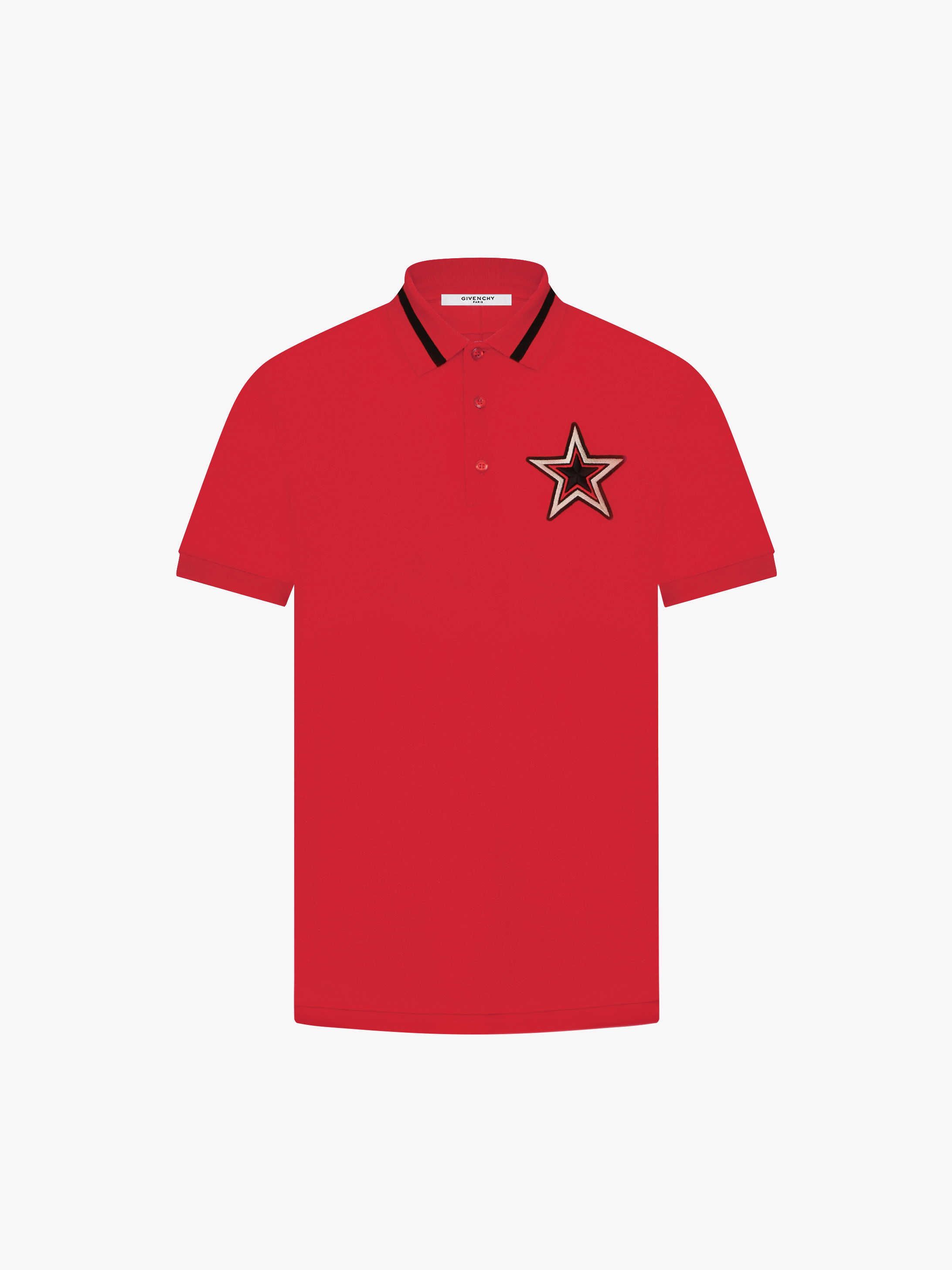 Contrasted collar and star patch polo