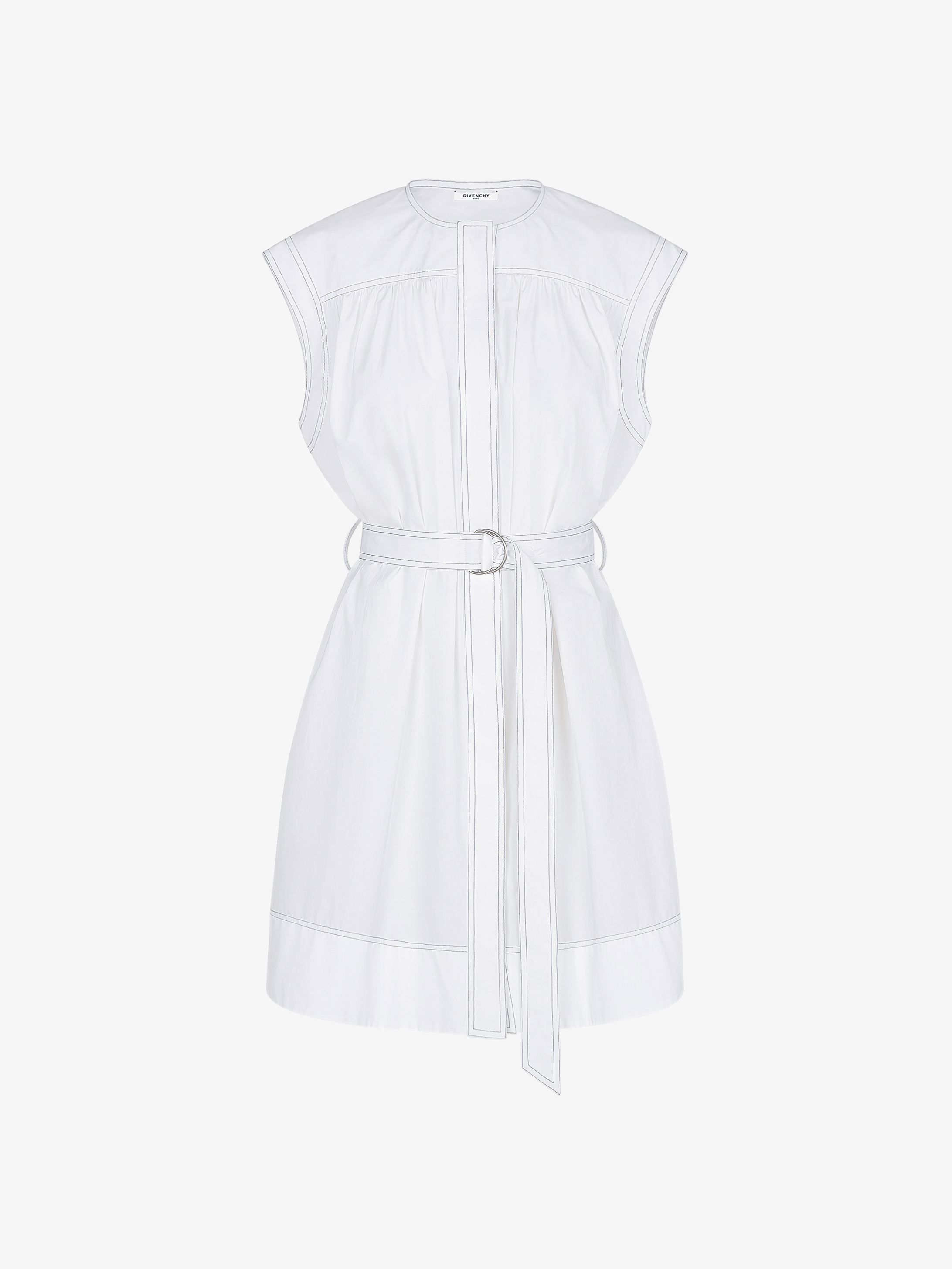Sleeveless shirt dress with contrasting stitching