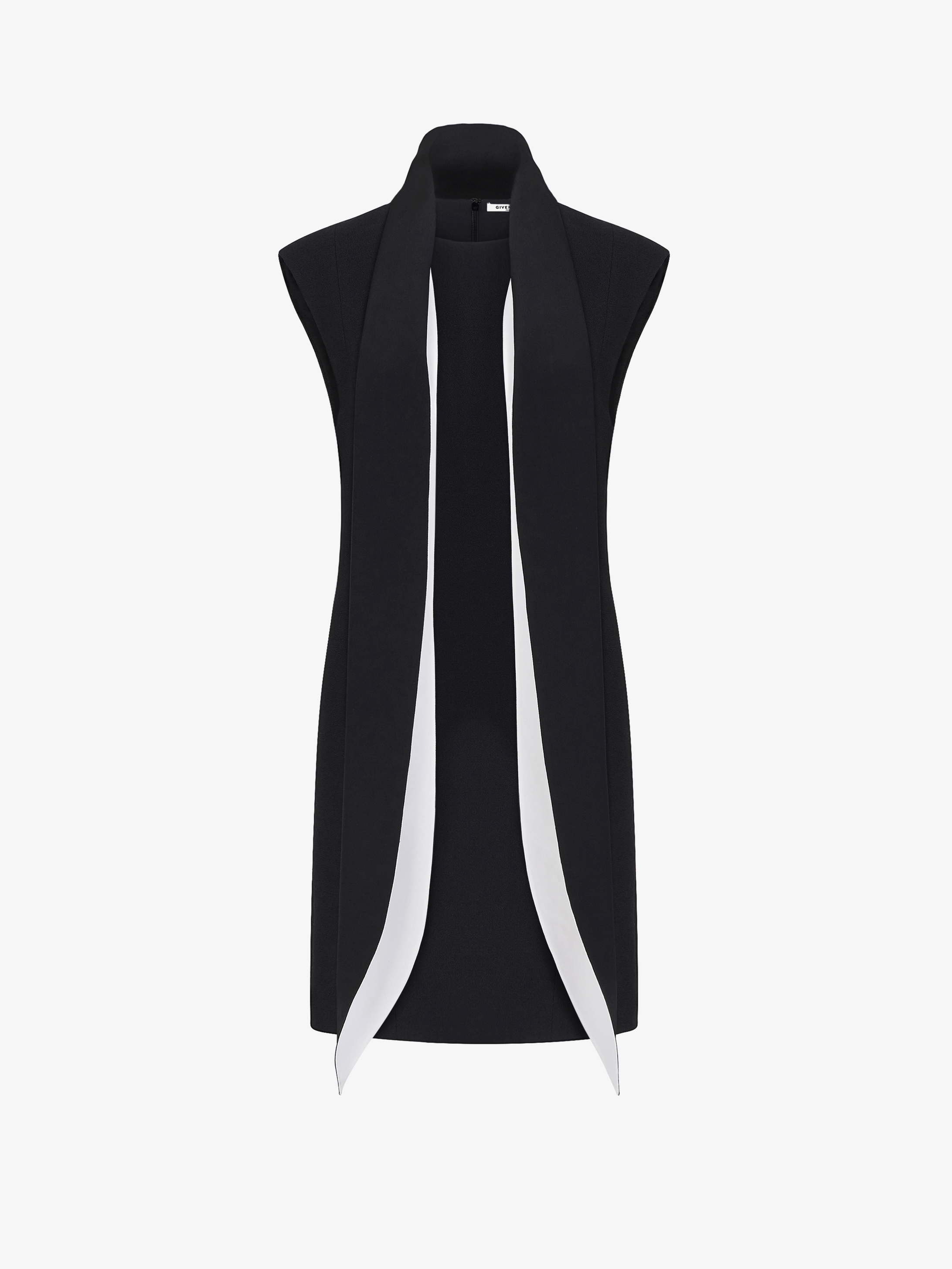 Robe courte à col foulard contrasté