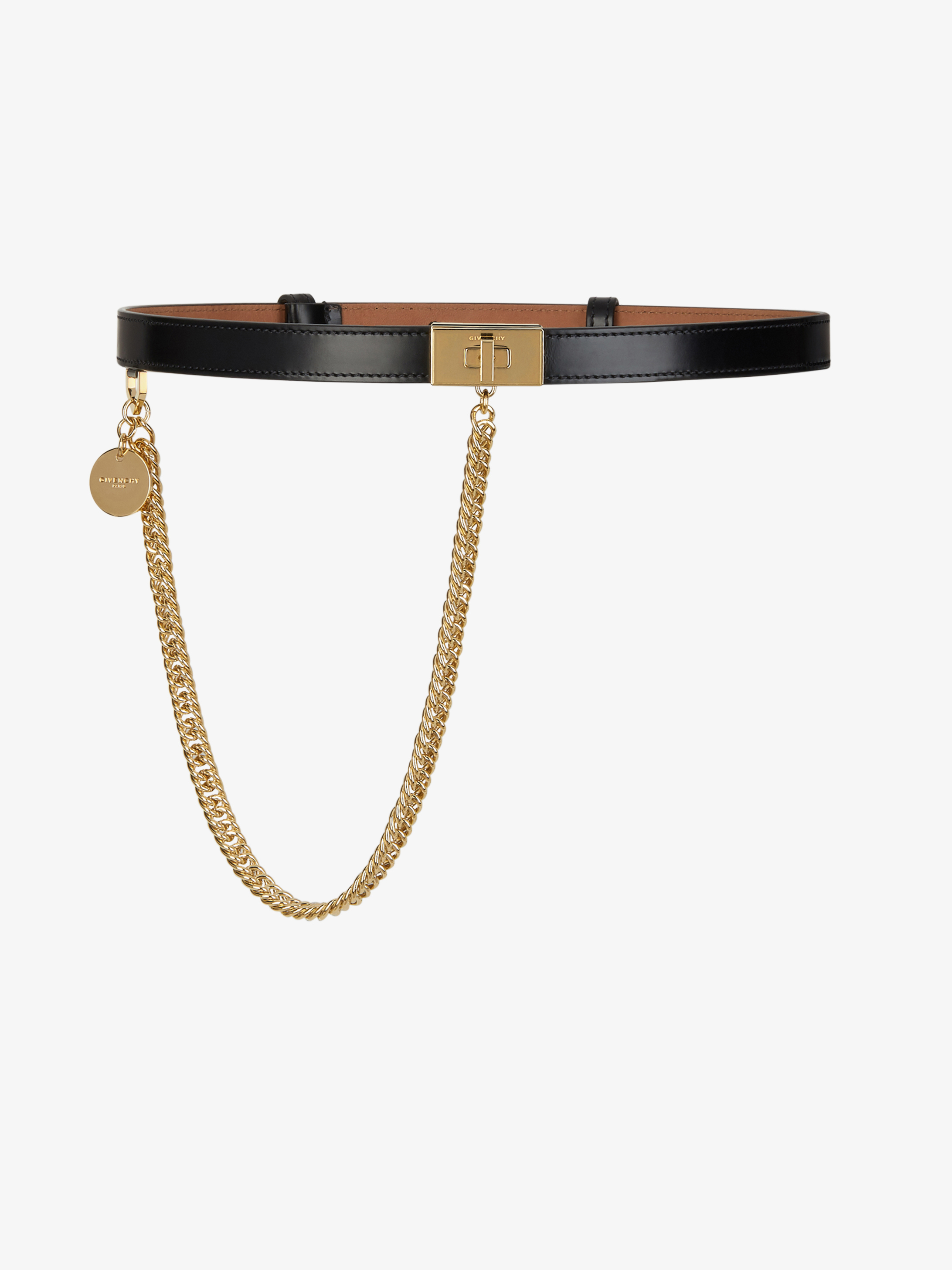 Double G belt in leather with chain