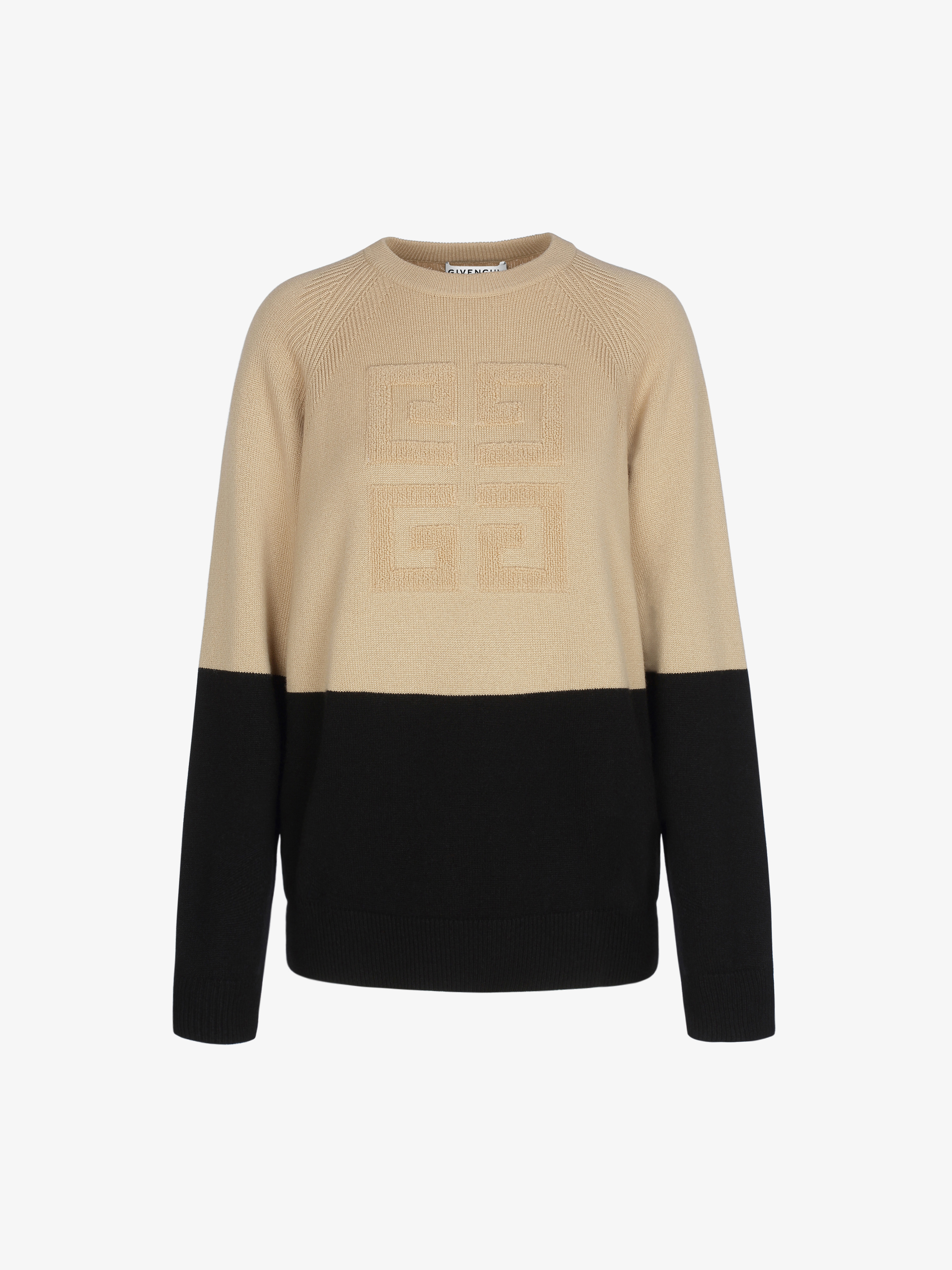 Two tone sweater in cashmere with 4G emblem