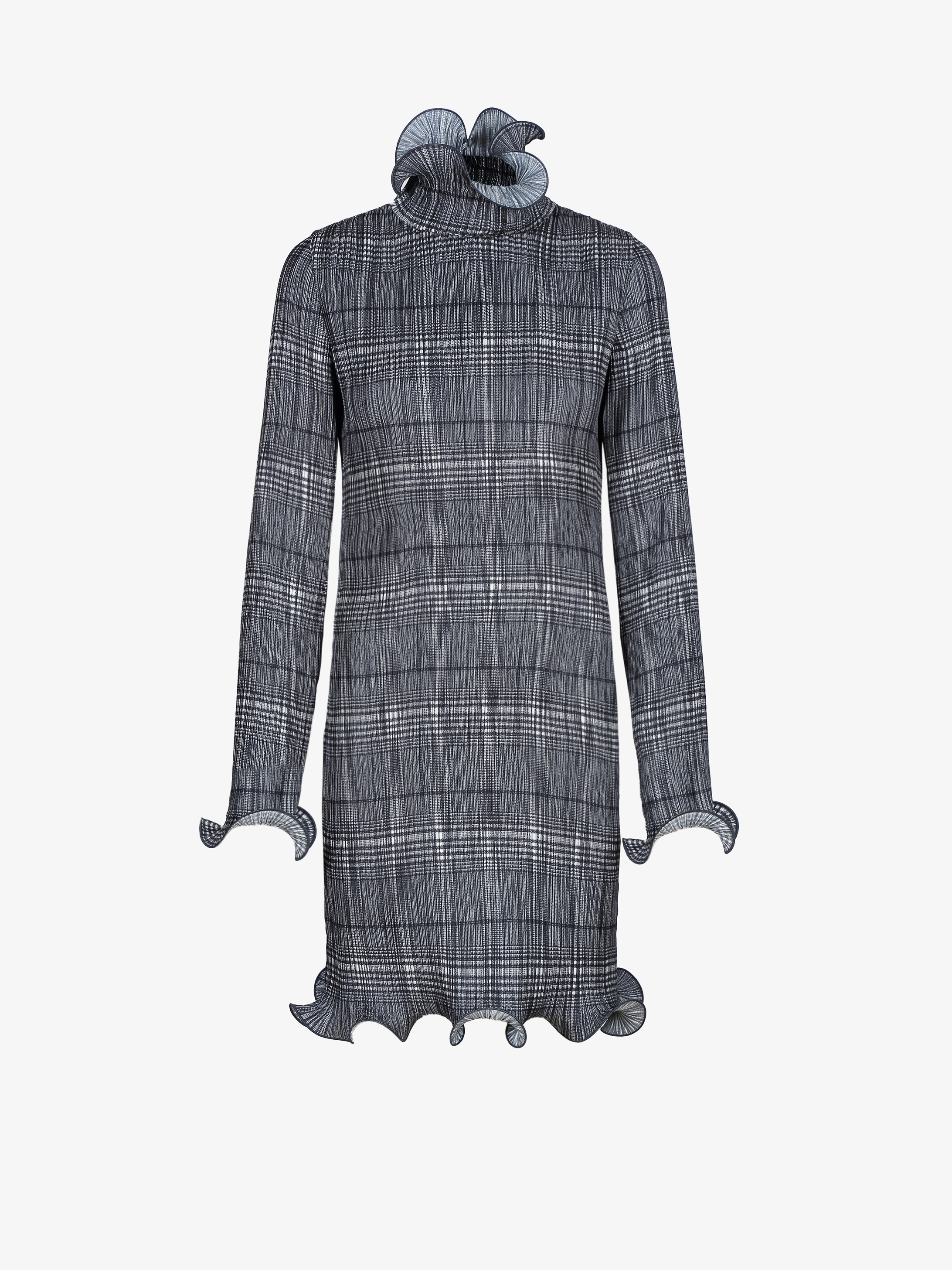 Checked dress in pleated satin