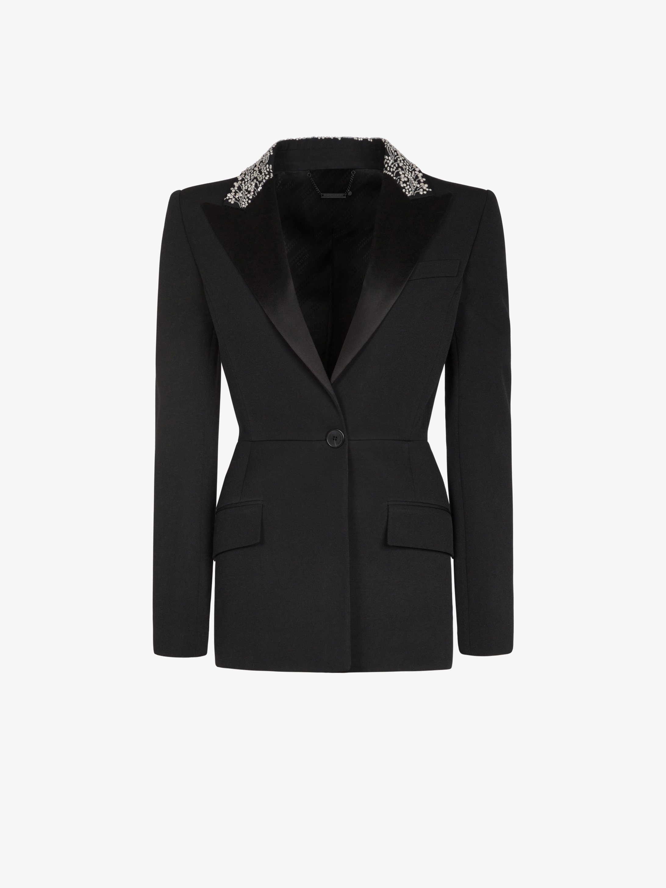 Peplum jacket in grain de poudre with embroidered collar