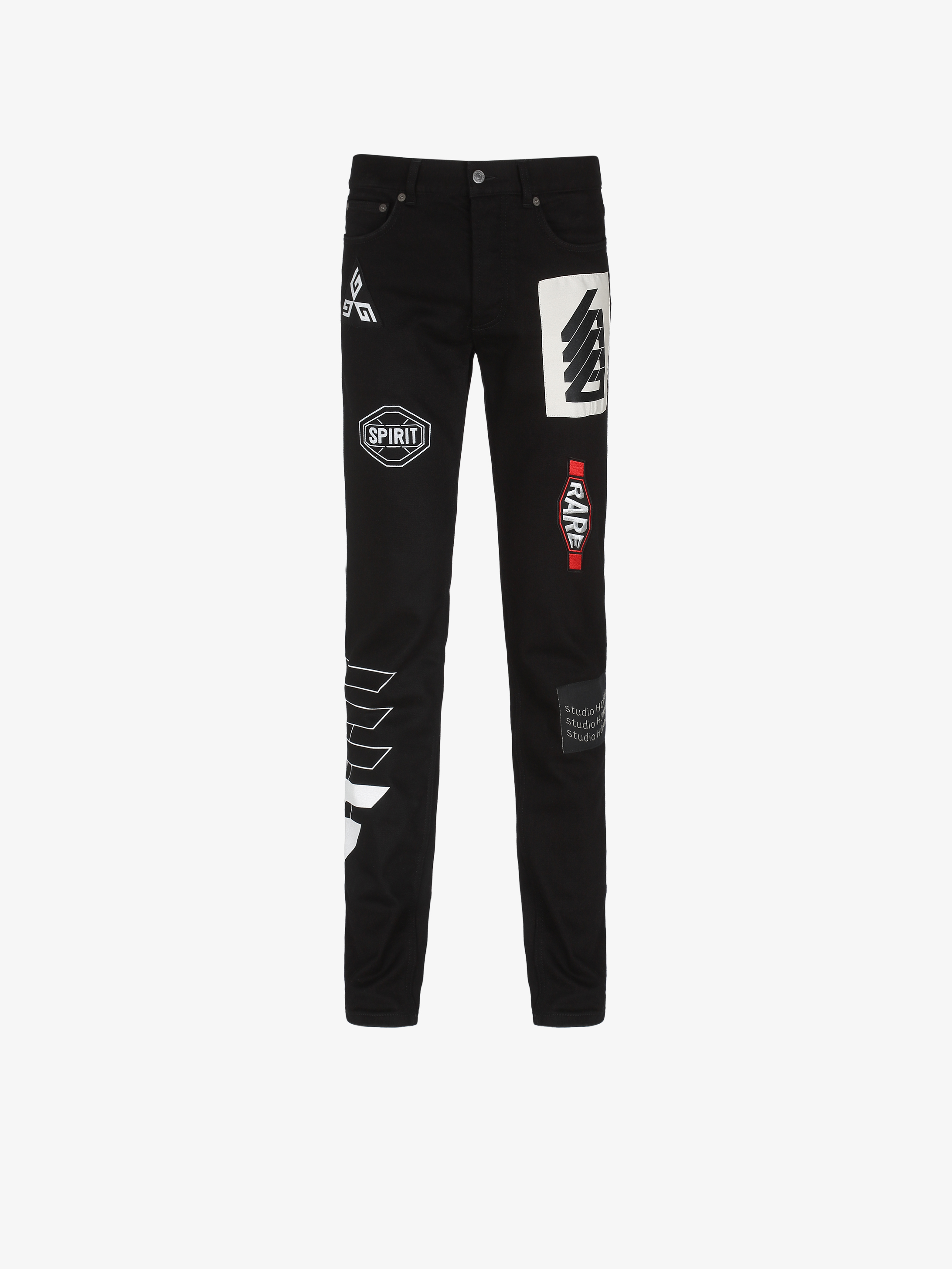 GIVENCHY printed slim fit jeans with patchs