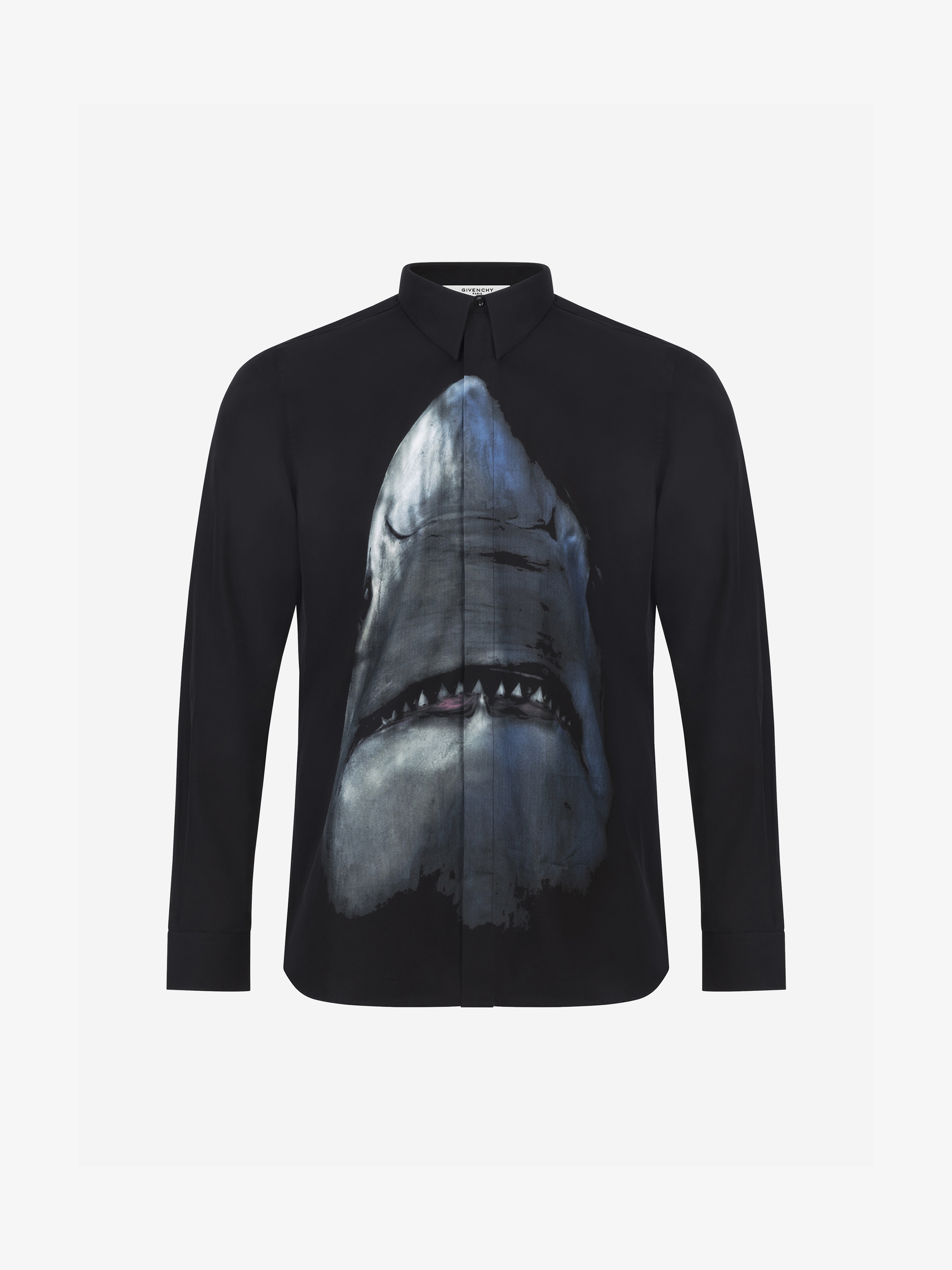 Shark printed slim fit shirt