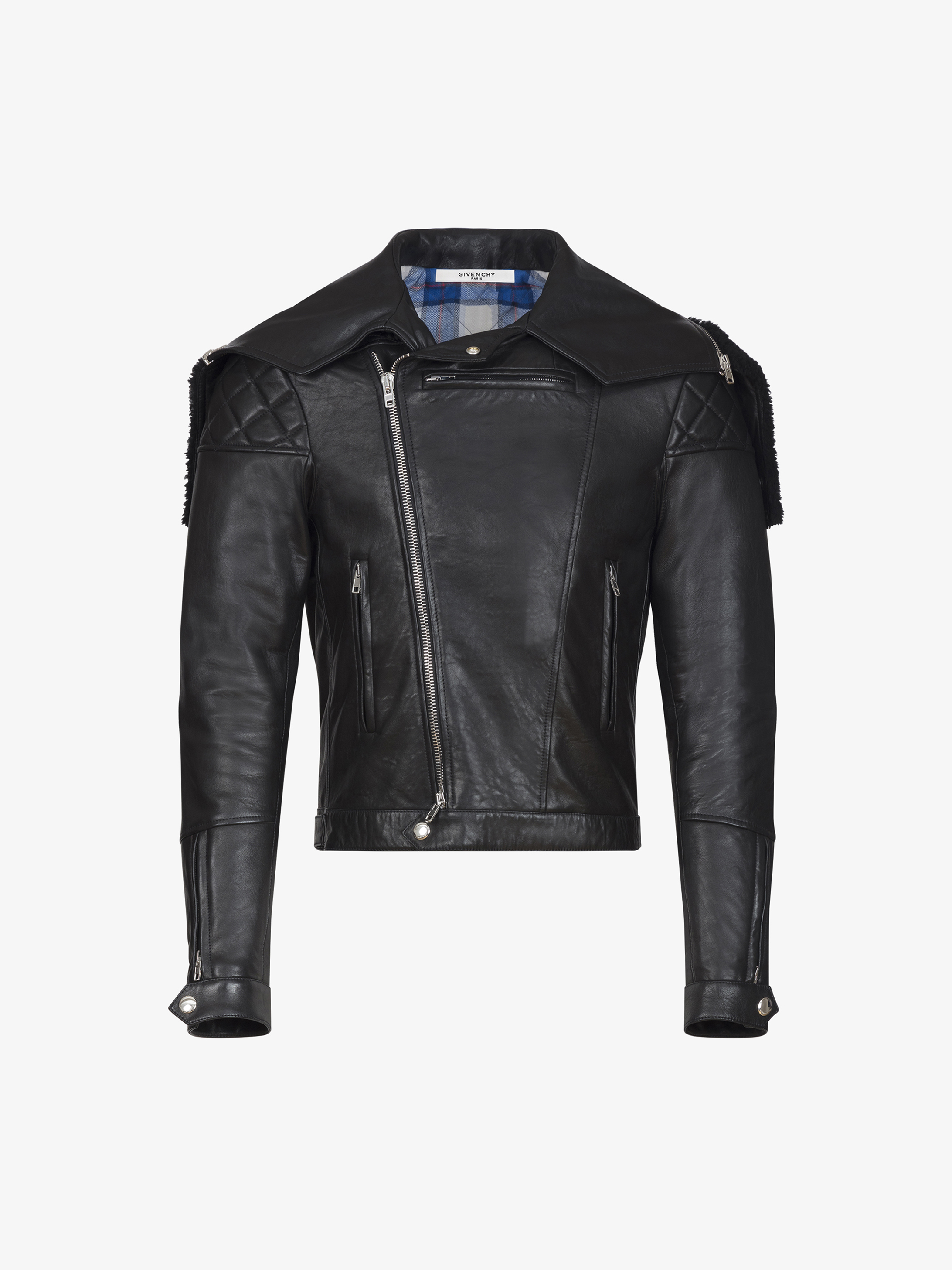 Givenchy Leather jacket with shearling collar | GIVENCHY Paris