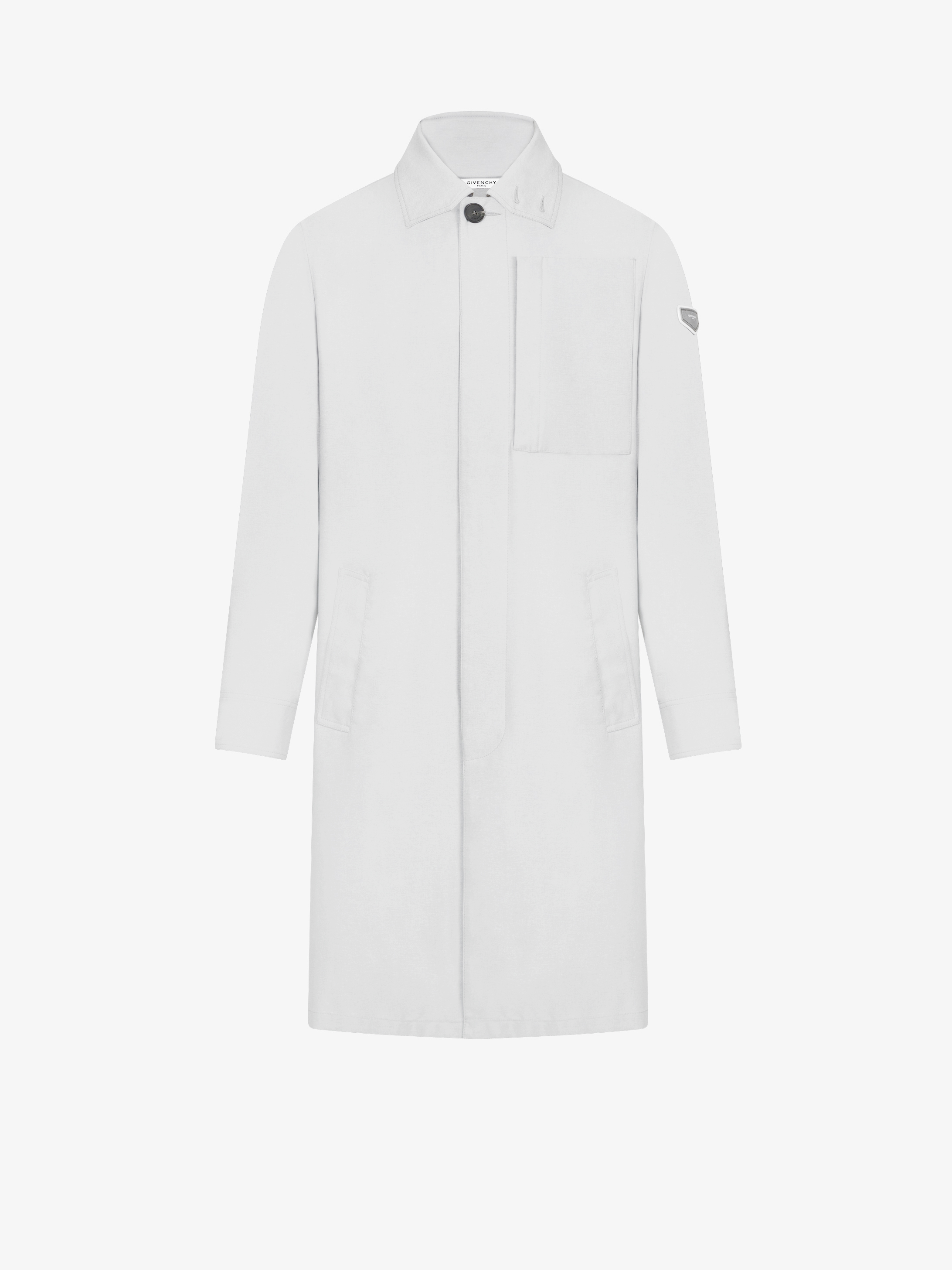 Graphic pocket trench coat