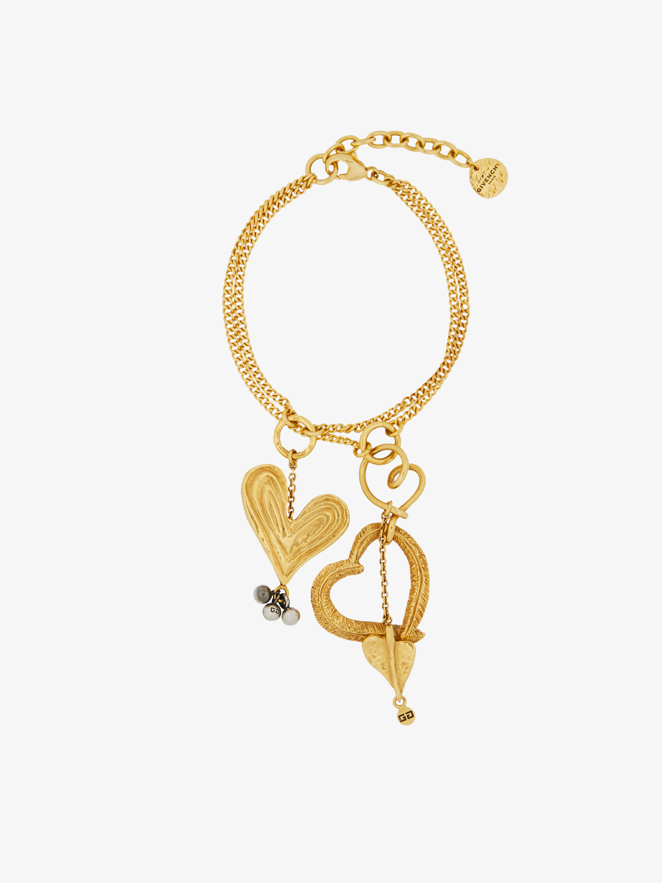 Double chain Heart pendant bracelet