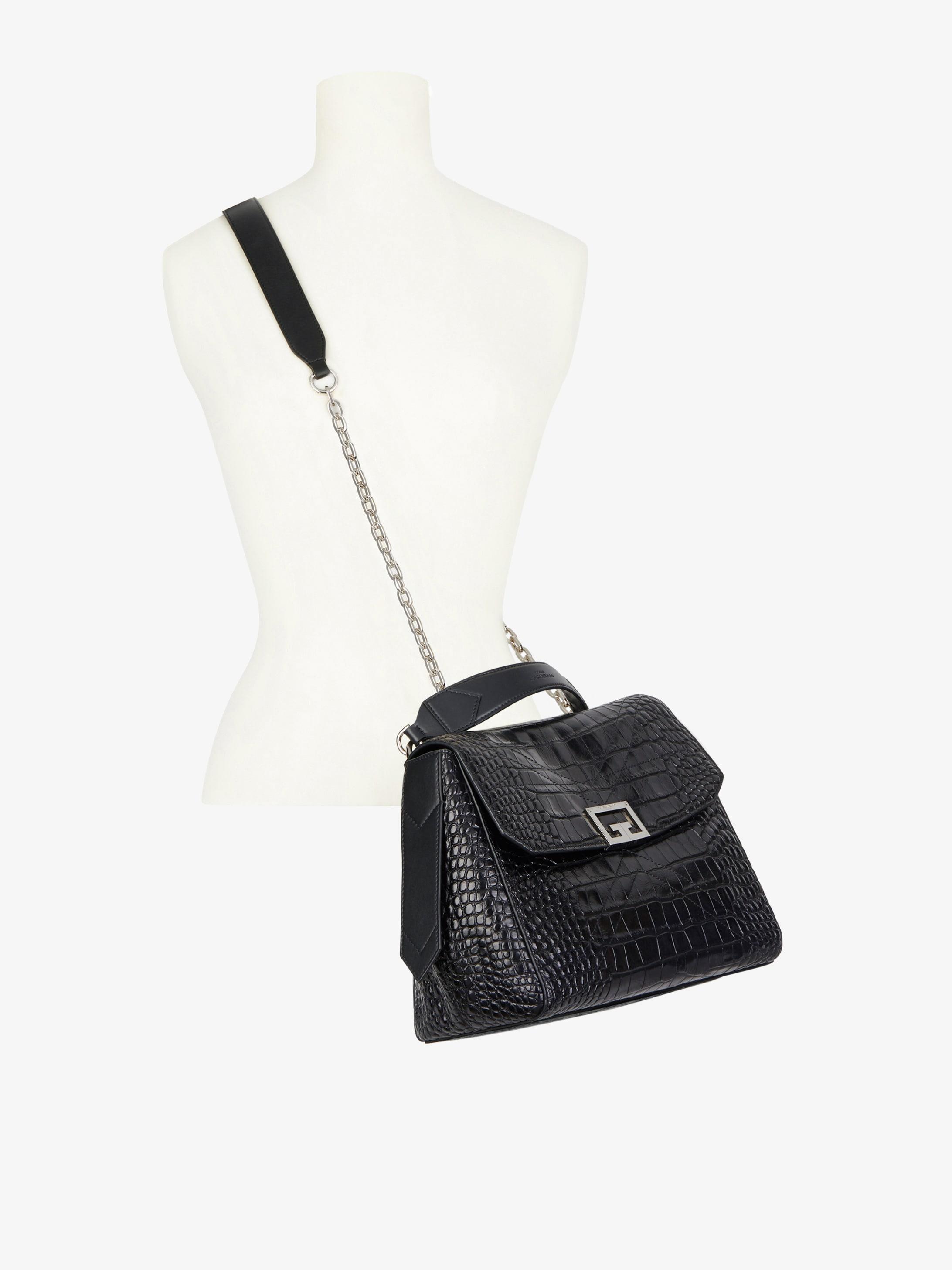 Medium ID bag in crocodile effect leather