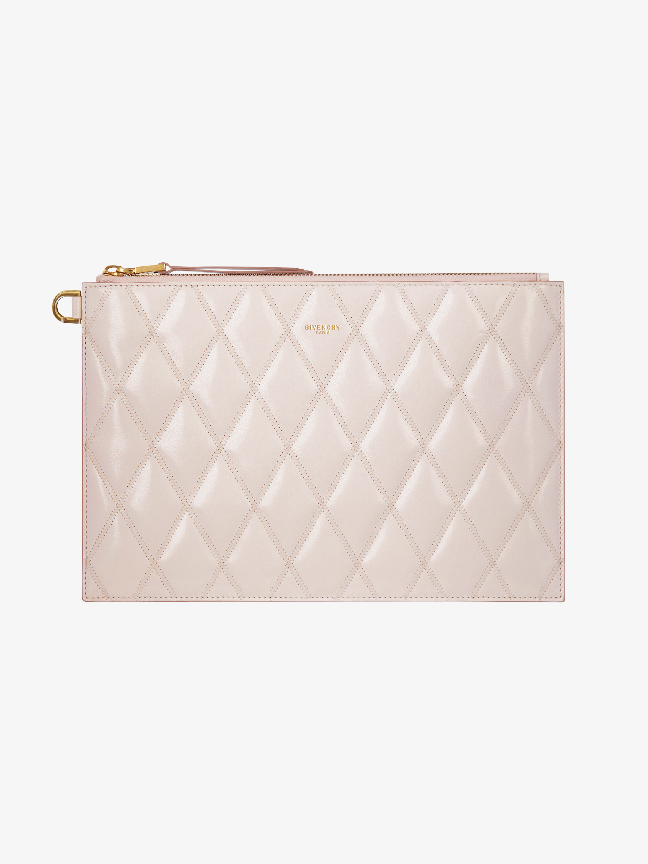 Medium pouch in diamond quilted leather