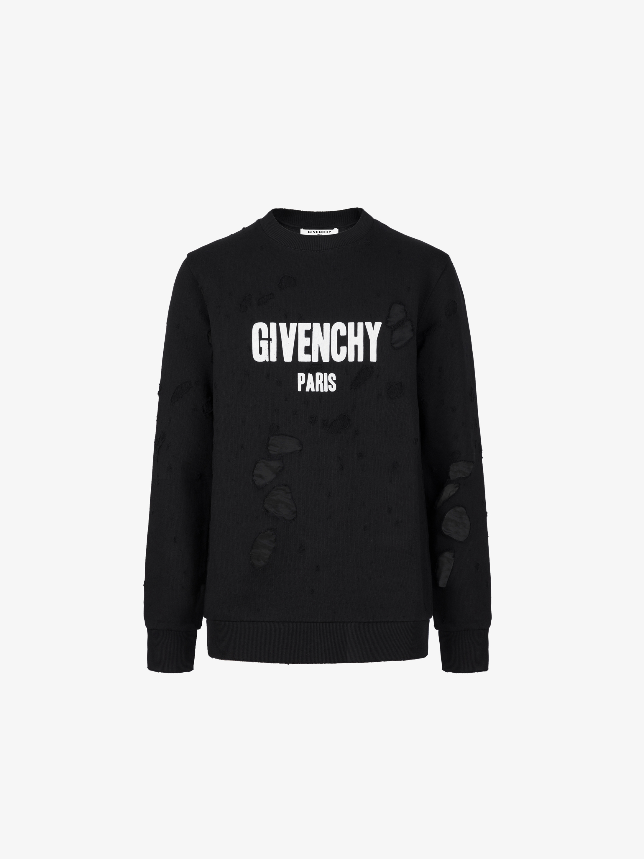 GIVENCHY PARIS destroyed sweatshirt